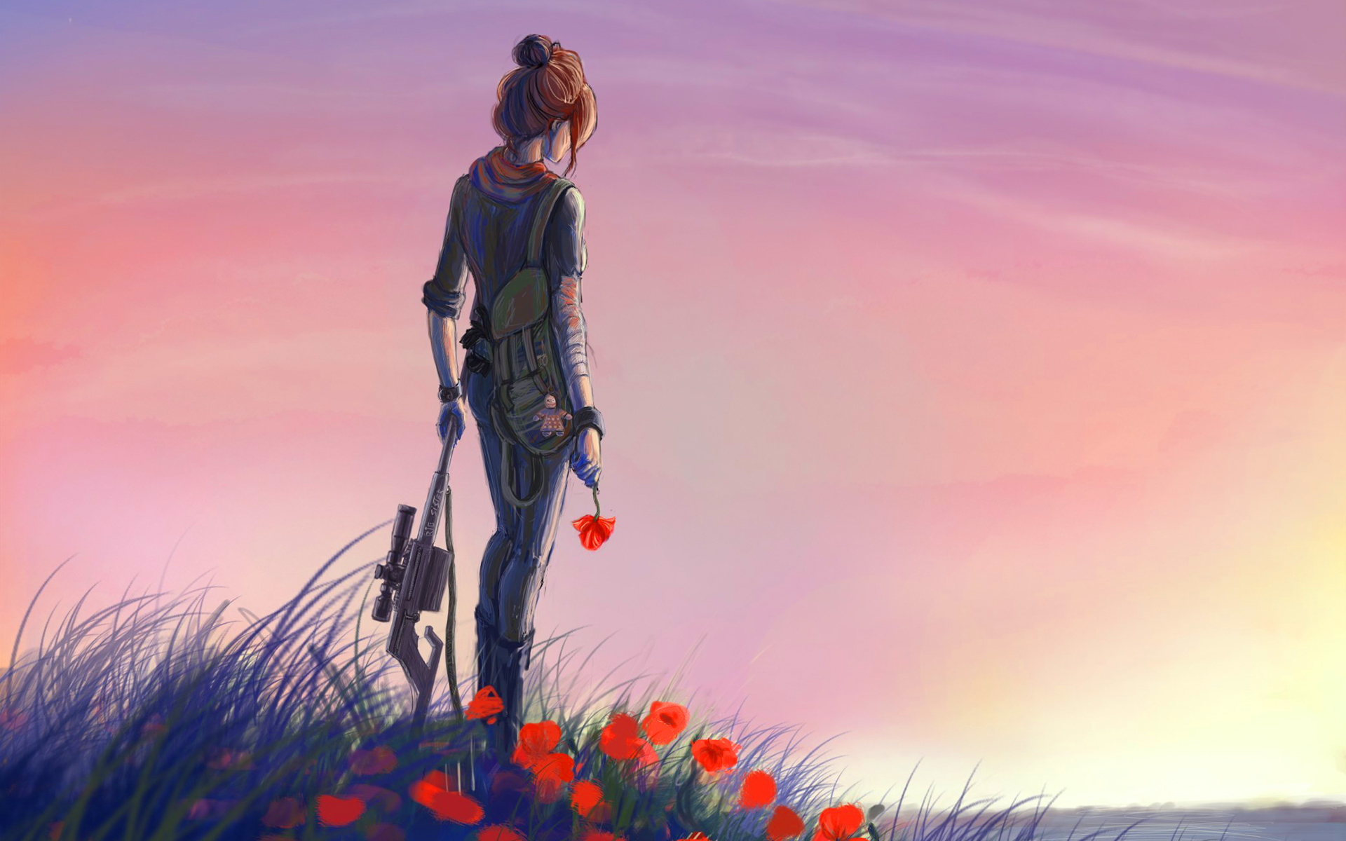 Soldier girl poppies sunset