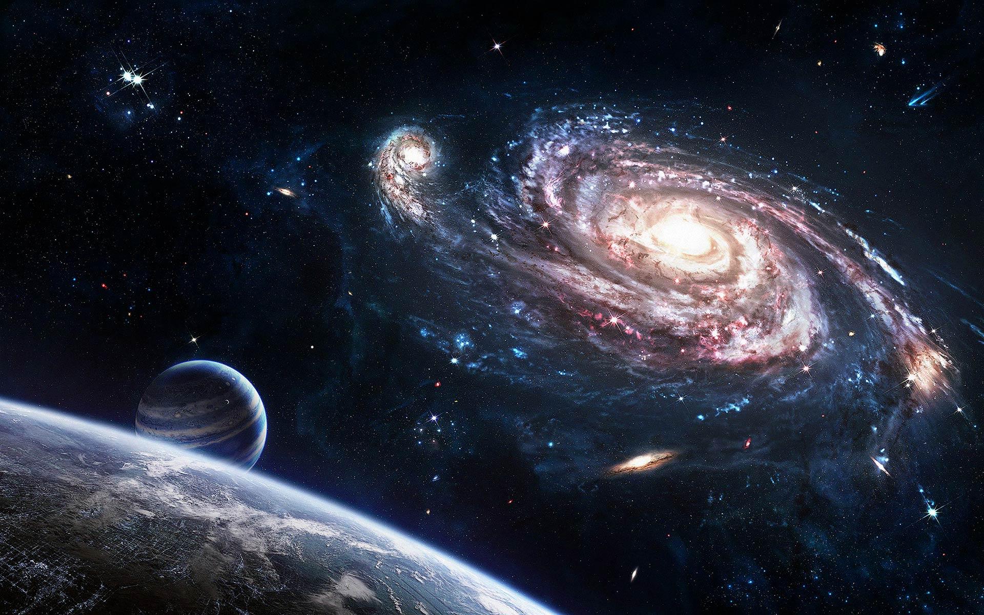 Sci-fi Spiral Galaxy Side View Space Art