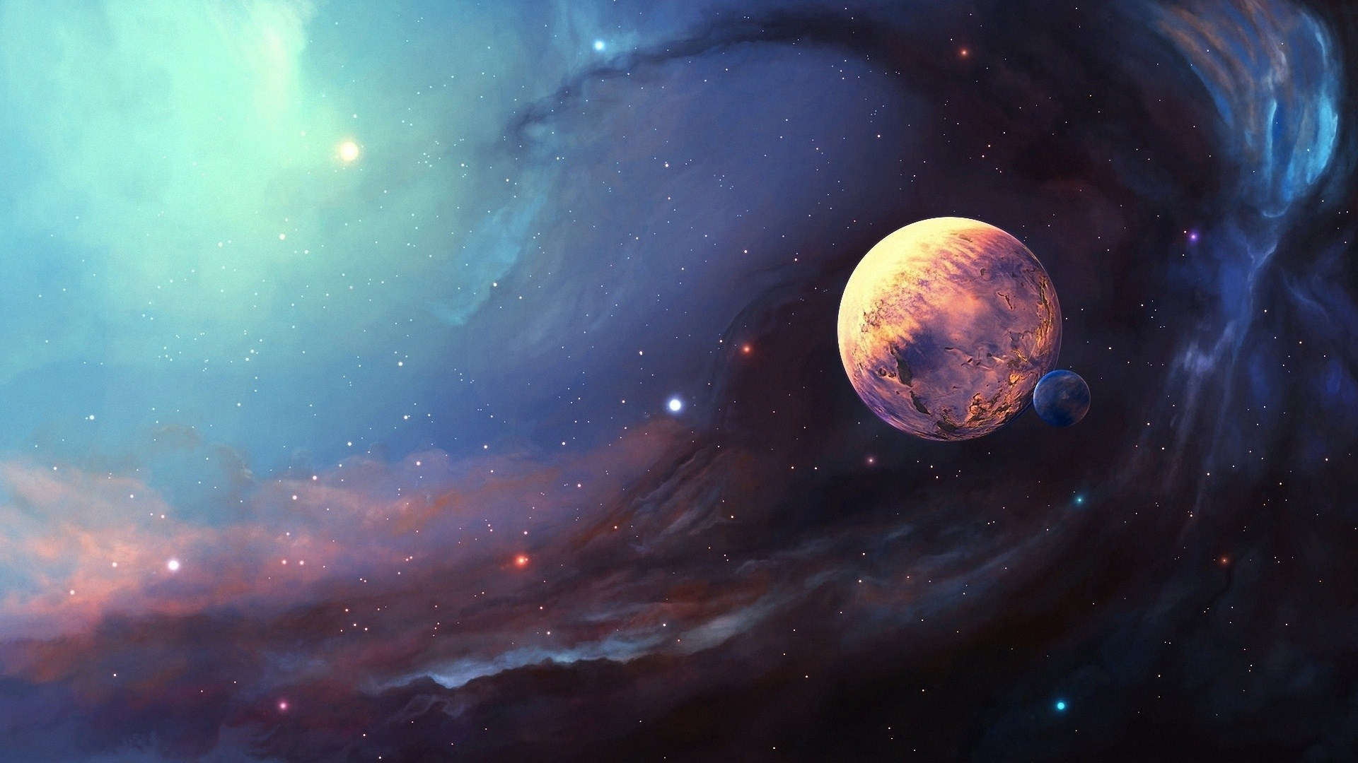 Space Nebula Planet Moon Stars Art HD Wallpaper