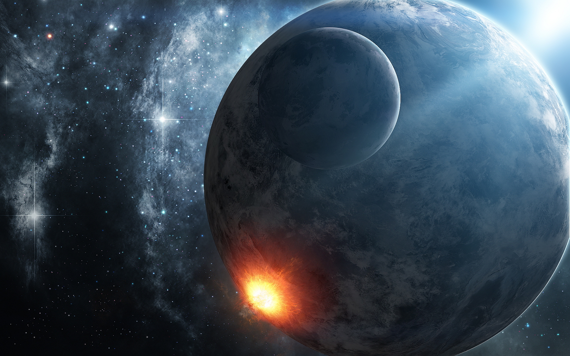 Space planet explosion