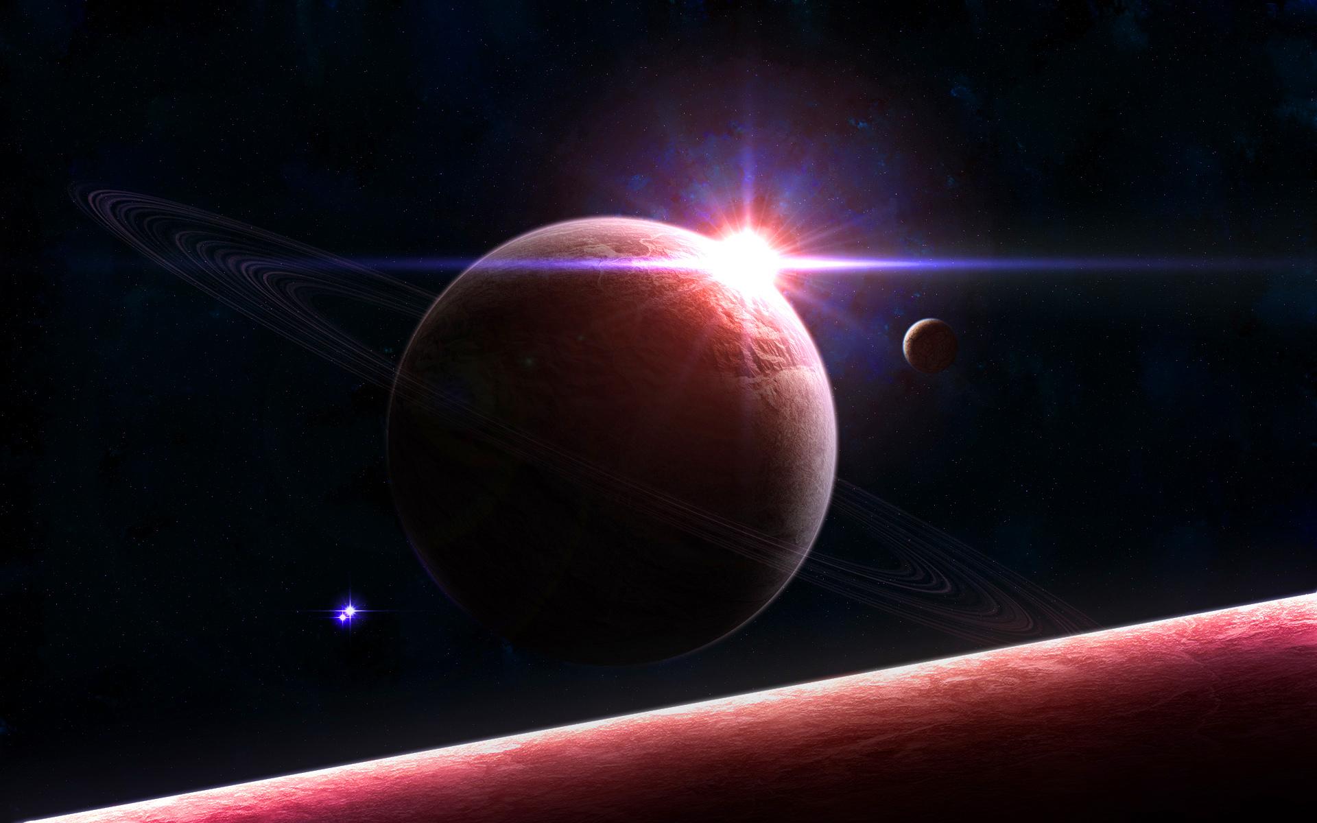 Space planet sunrise