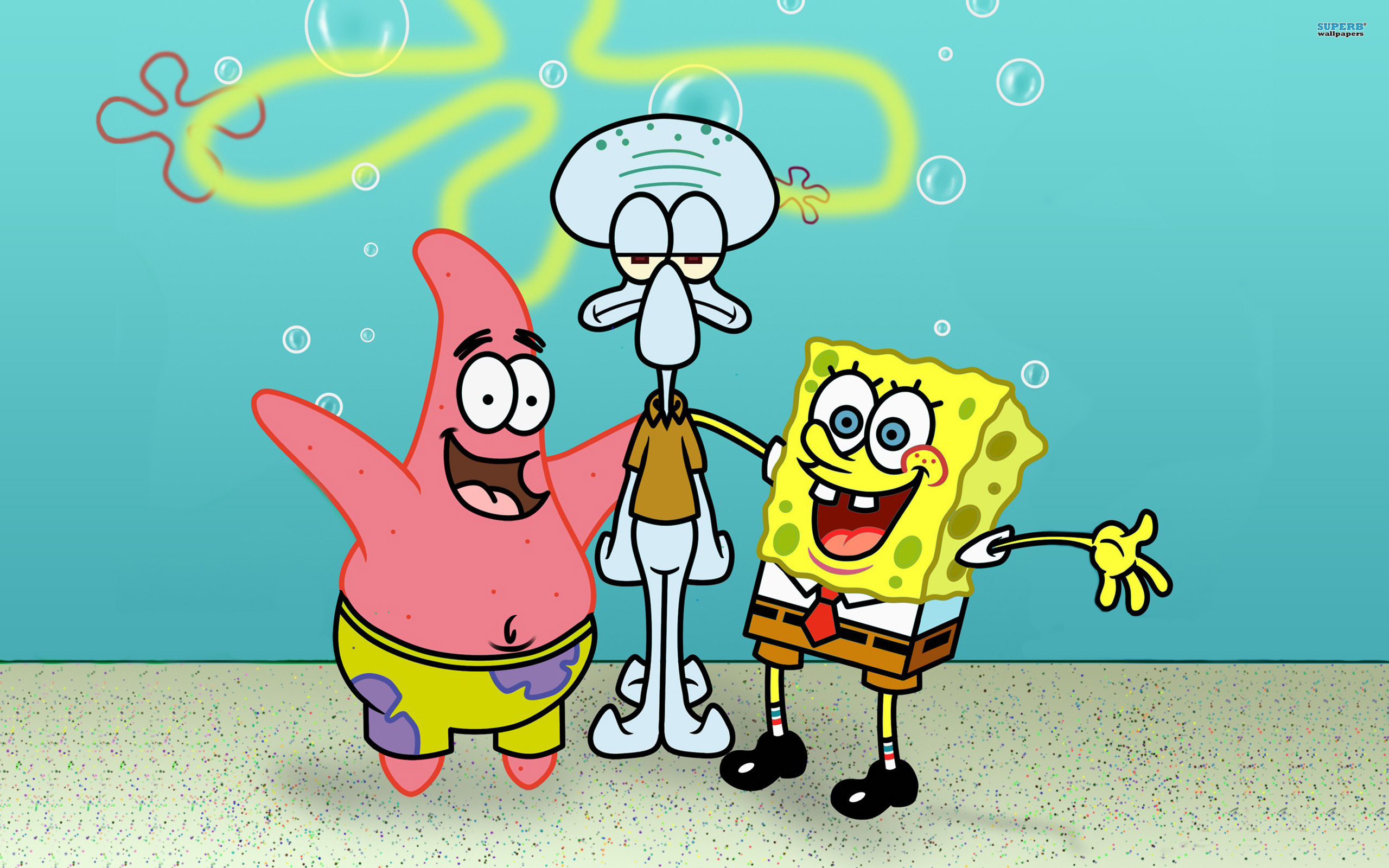 SpongeBob, Patrick and Squidward wallpaper 2560x1600