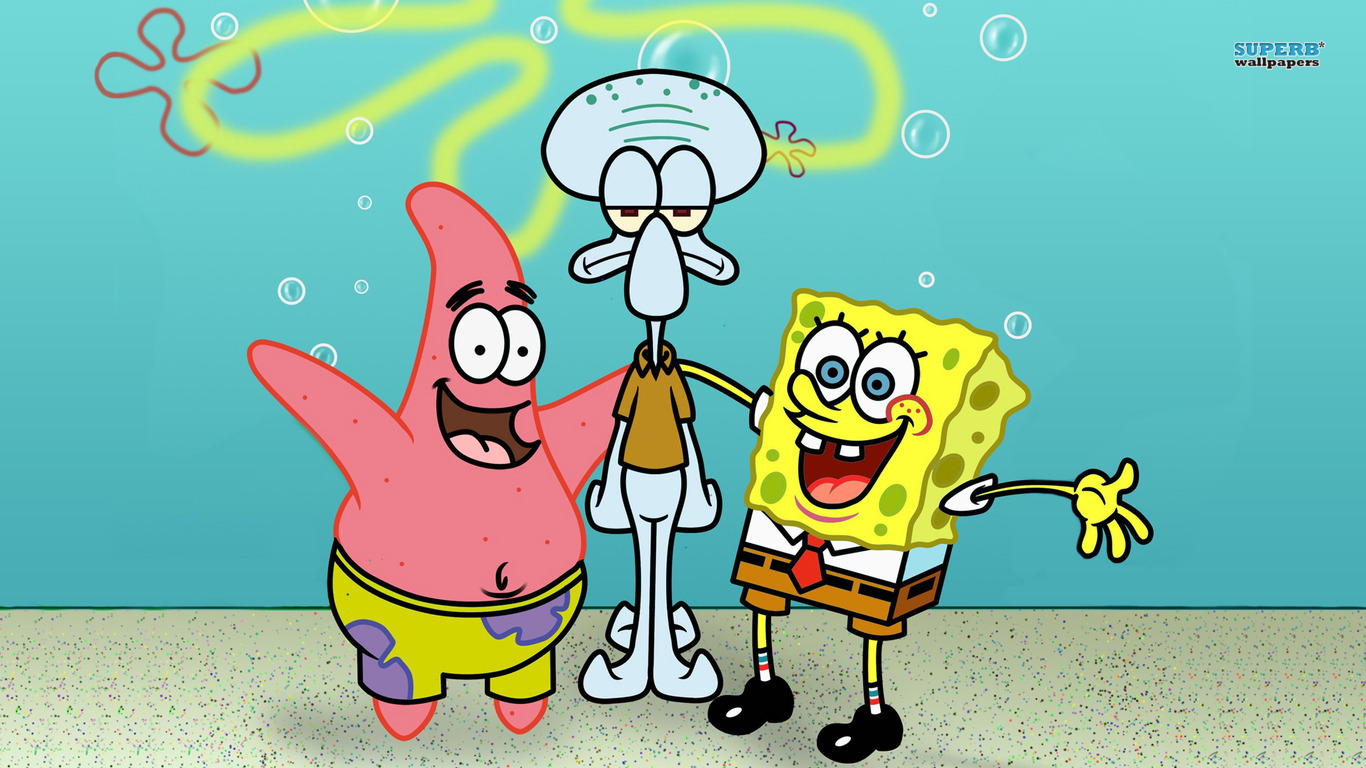 SpongeBob, Patrick and Squidward wallpaper 1366x768