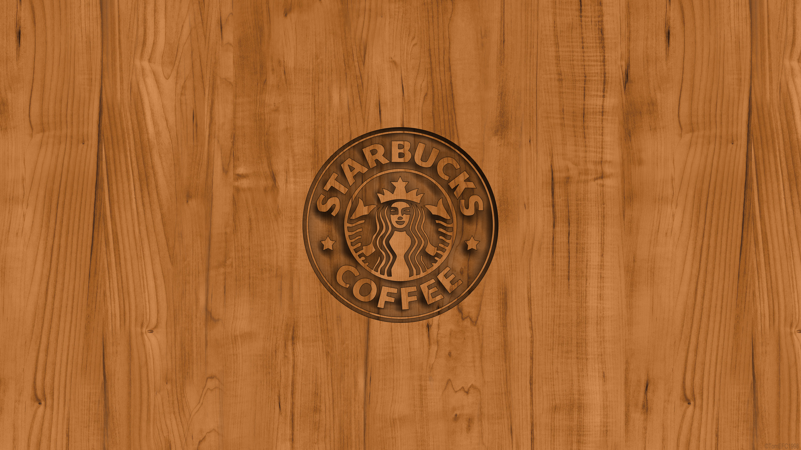 Starbucks Coffee Logo Wood Wallpaper by TomEFC98