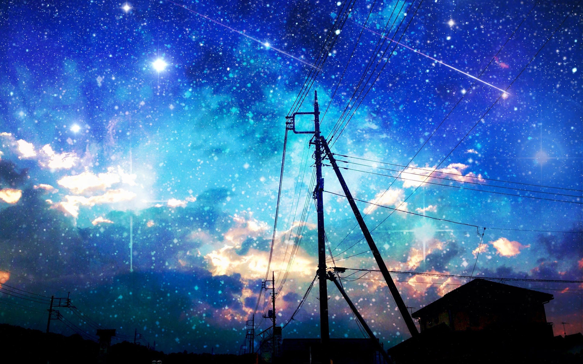 Starry sky over the city wallpaper