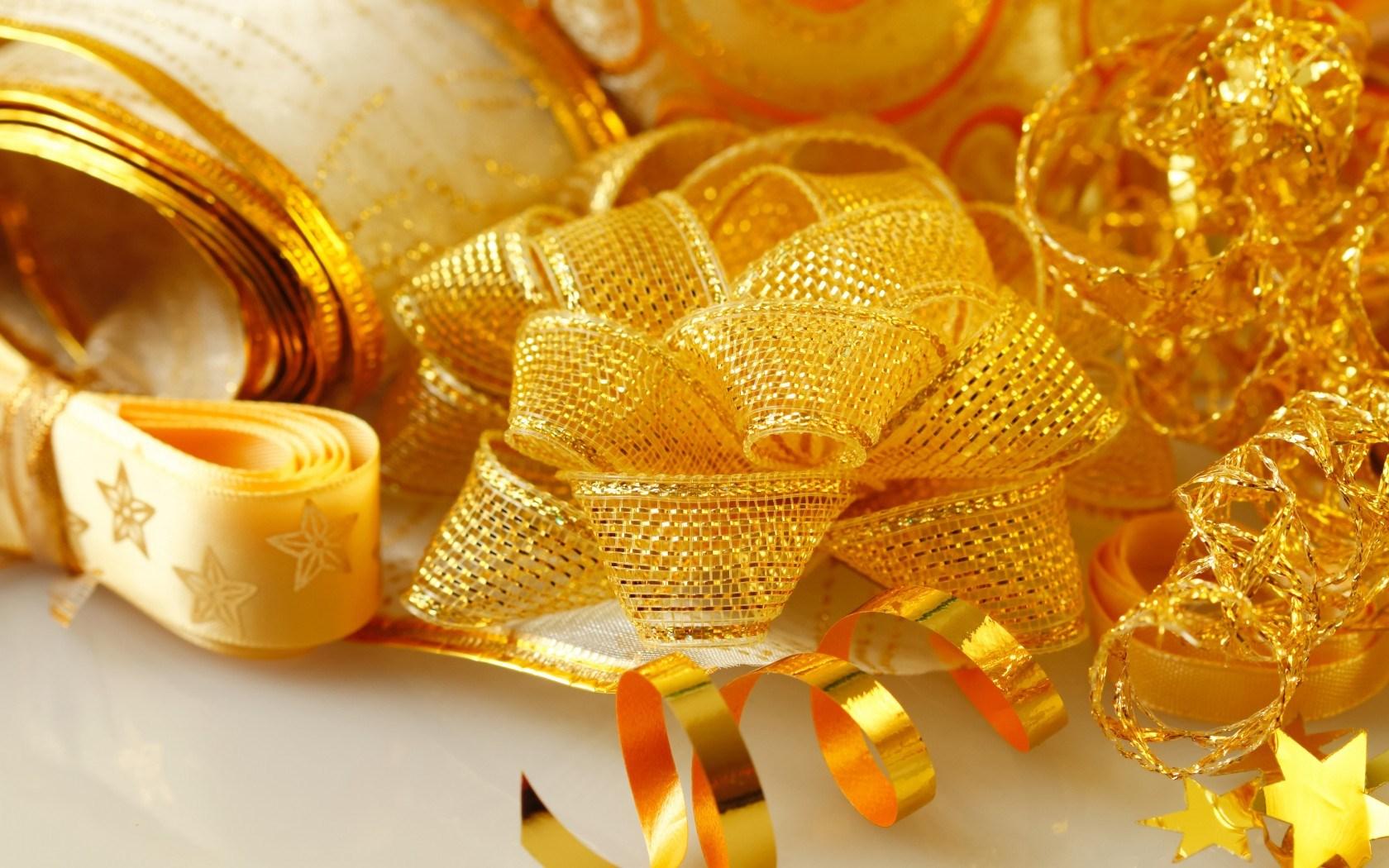 Stars Bow Ribbons Gold Holiday Christmas Winter