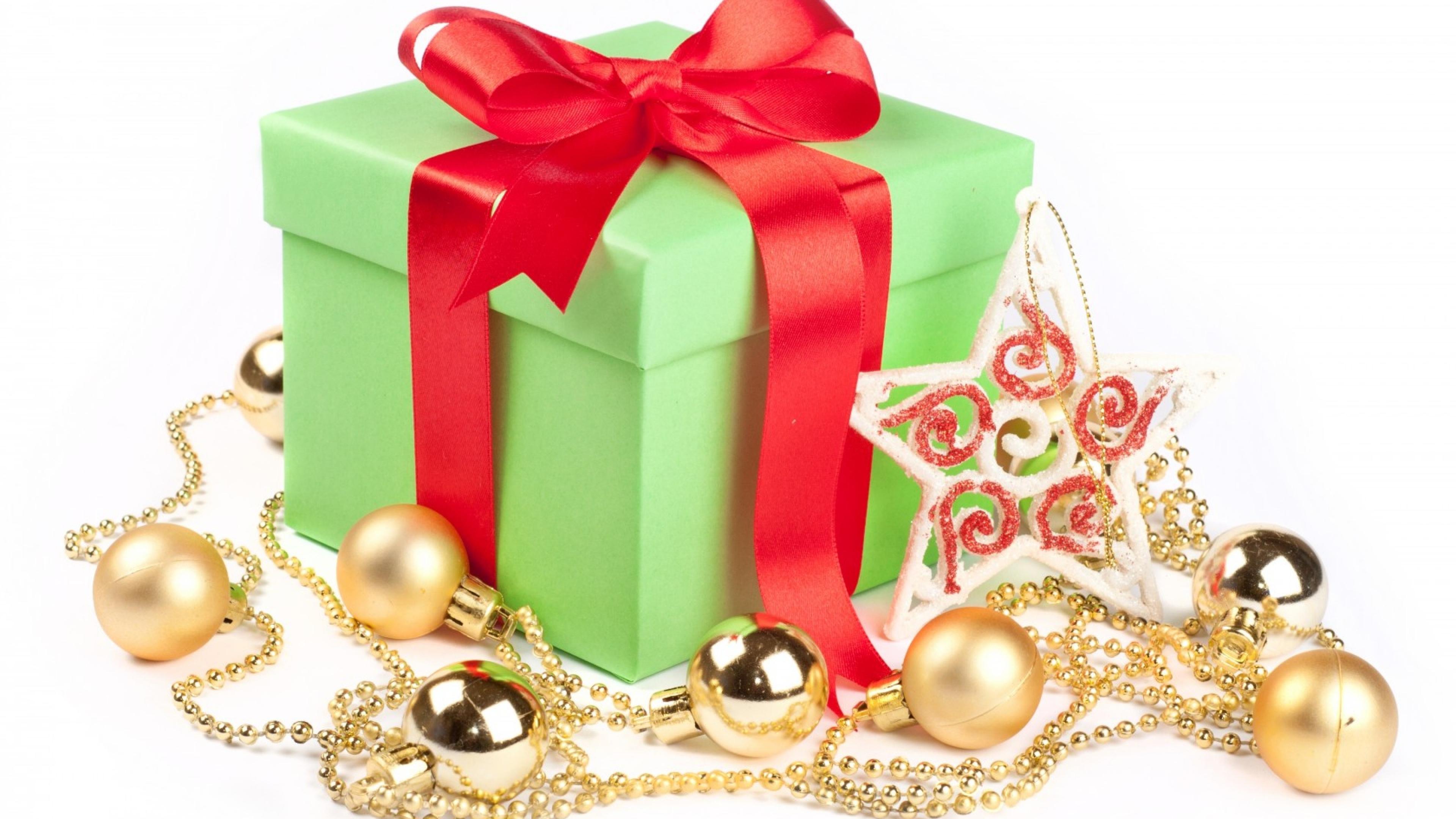 3840x2160 Wallpaper box, gift, ribbon, star, balls, christmas, new year