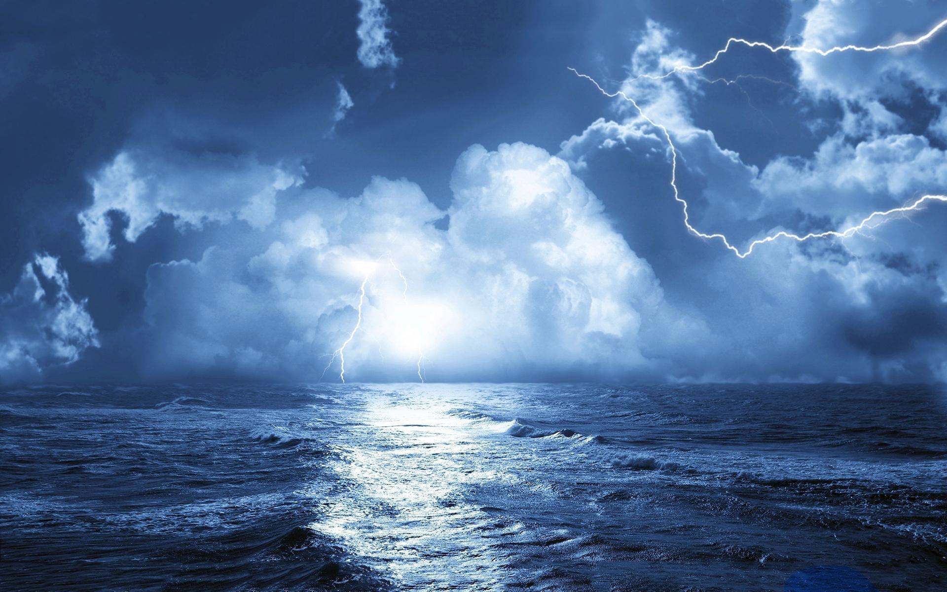 Storm over sea