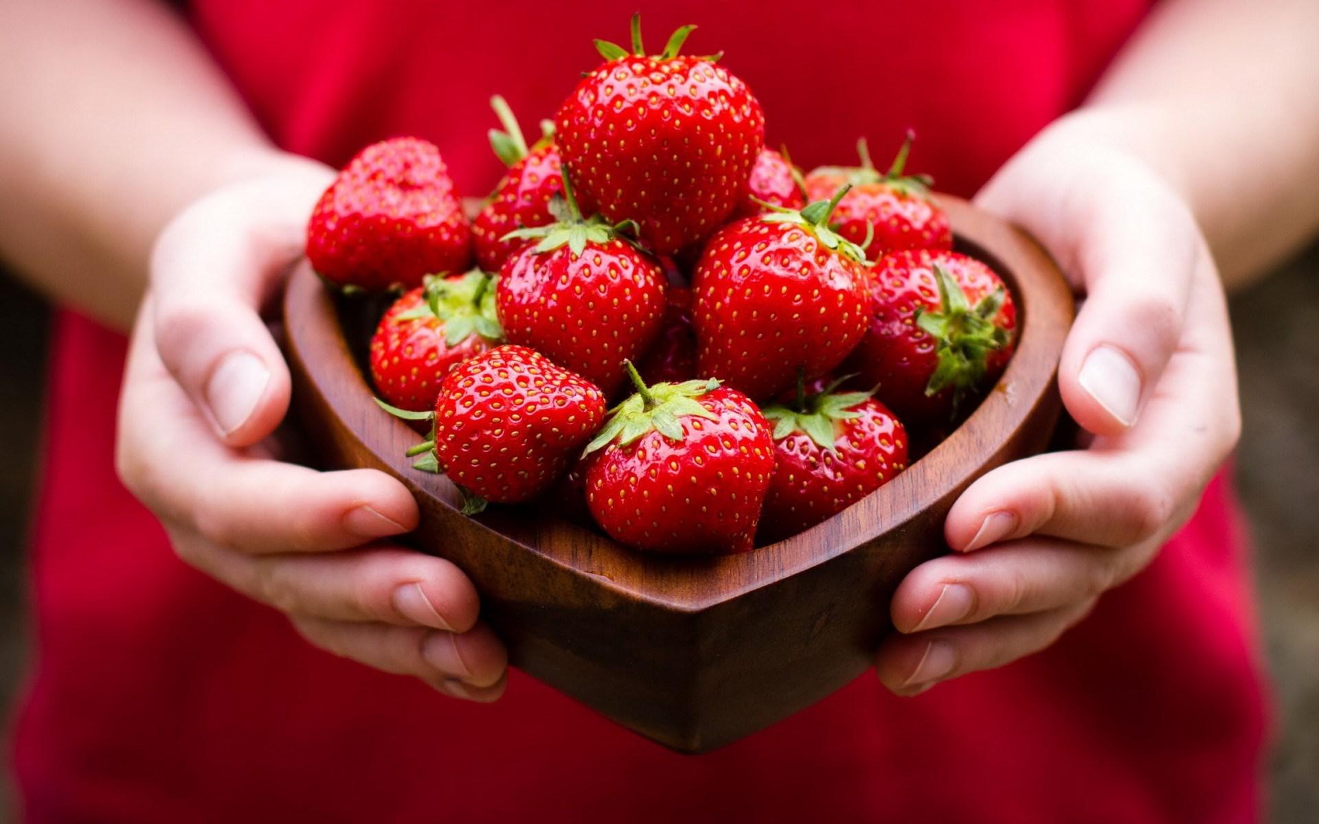 Strawberries Hands Girl Mood
