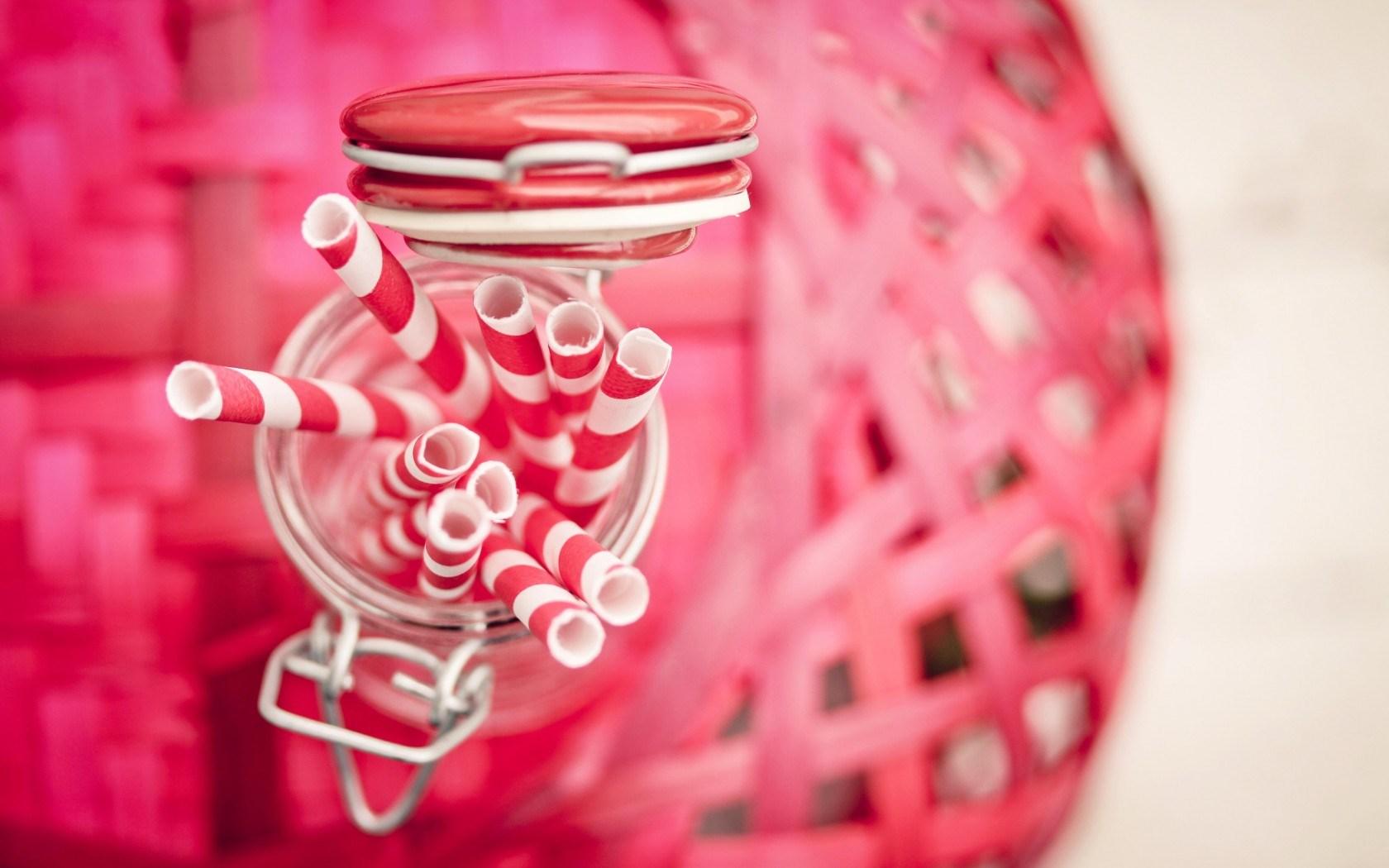 Straws Tubes Pink White Jar HD Wallpaper