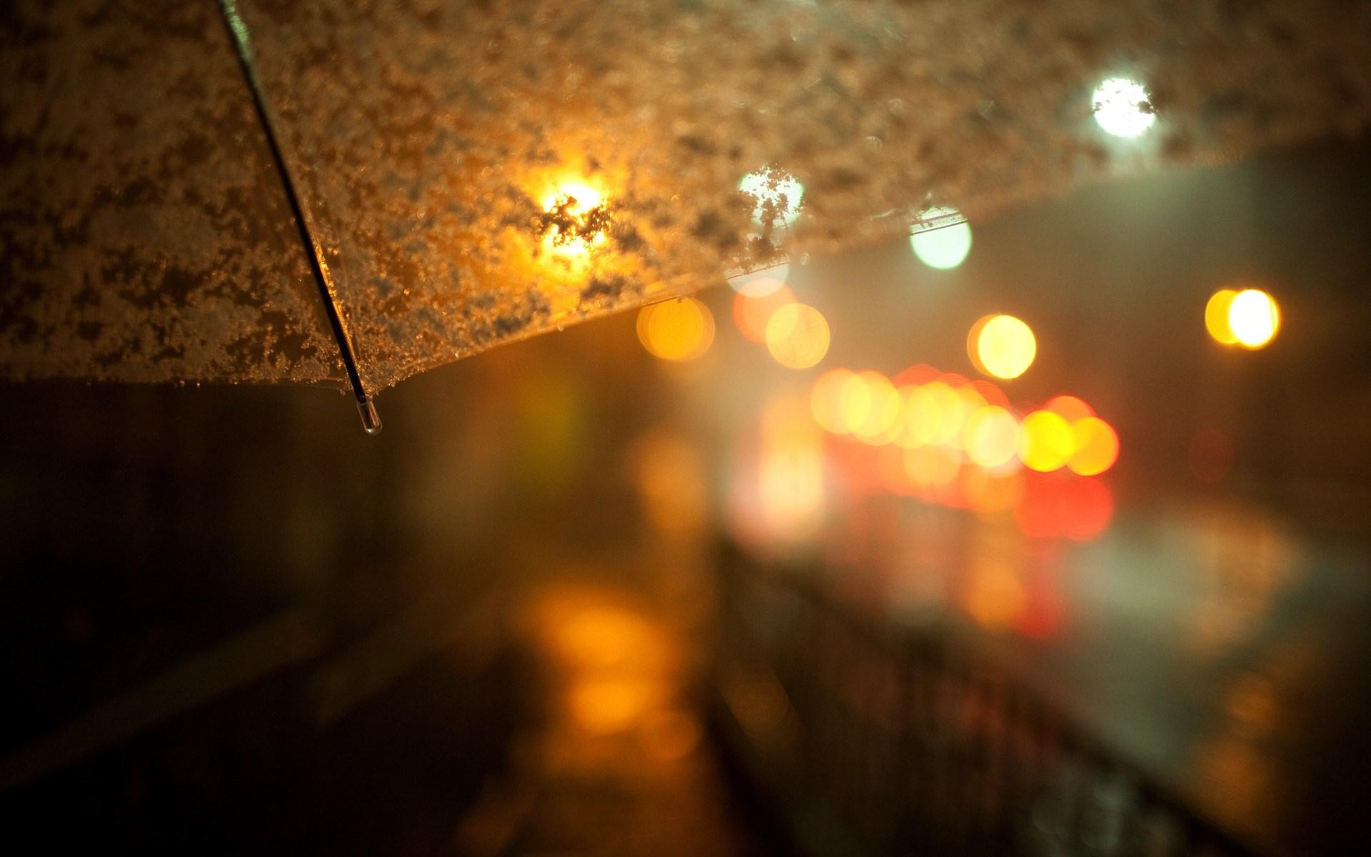 Street Night Lights Umbrella Macro HD Wallpaper