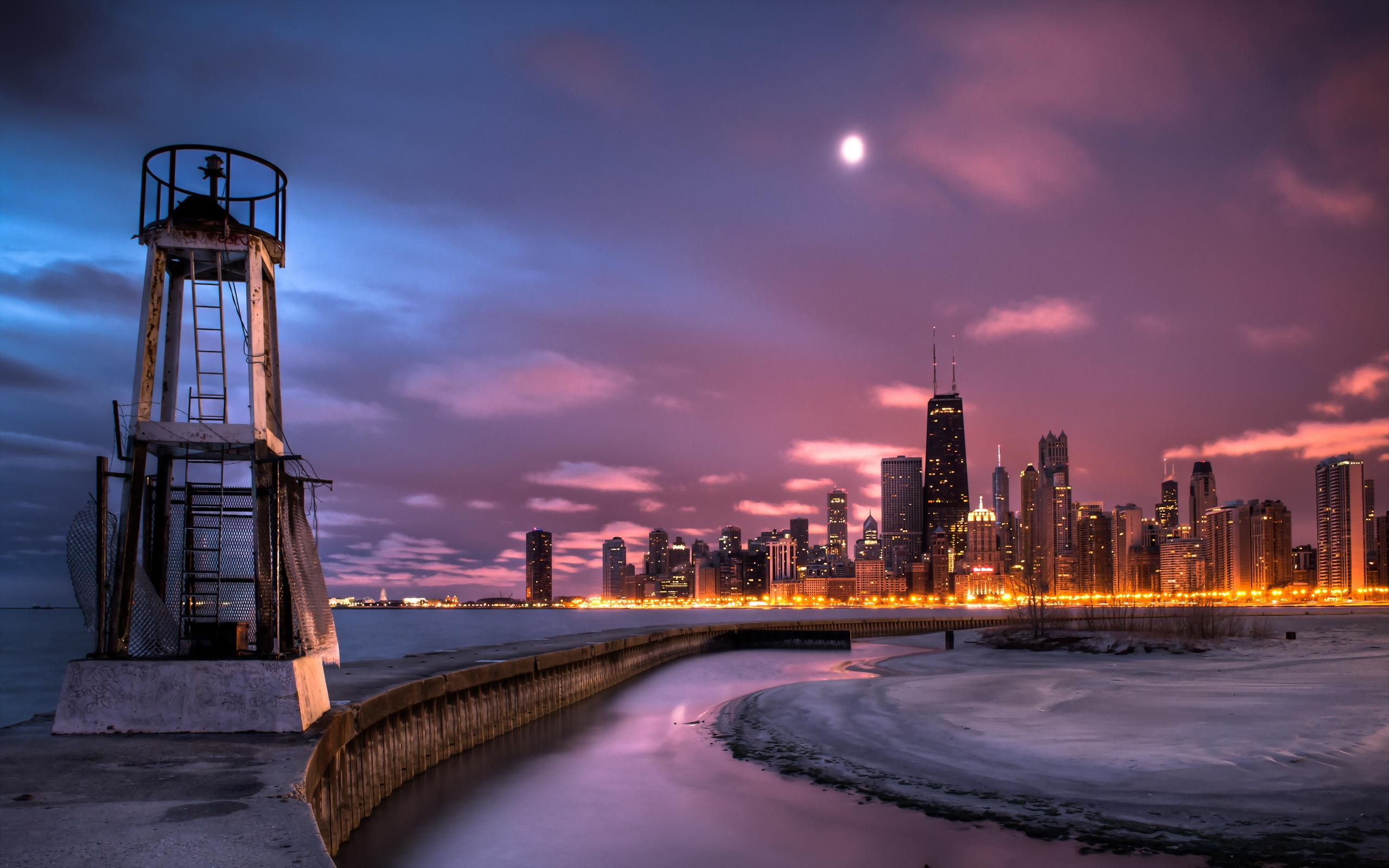 chicago skyline widescreen new hd wallpaper