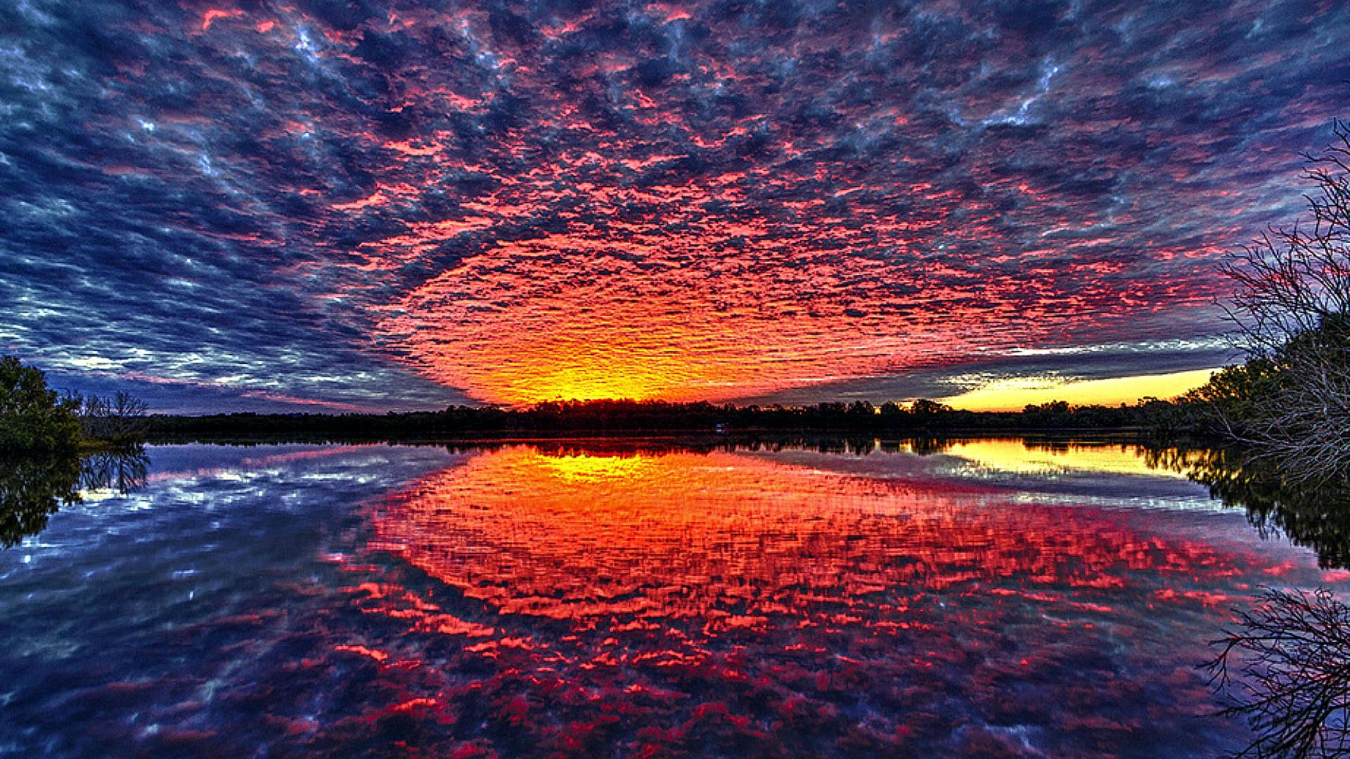 Stunning Sunset Reflection Hdr HD Desktop Background wallpaper