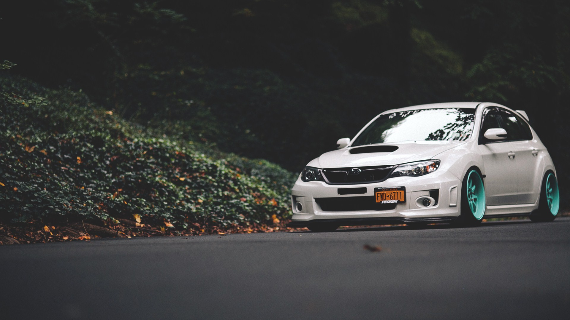 Subaru Impreza Road Forest Fall Leaves HD Wallpaper