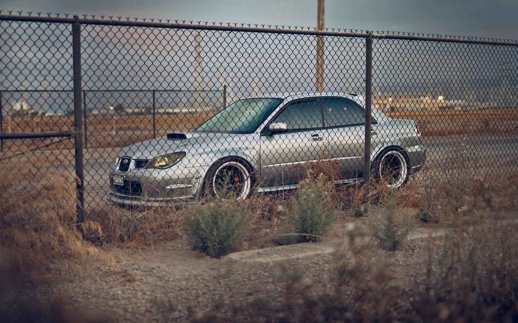 Subaru Impreza STI Car Road Fence Photo