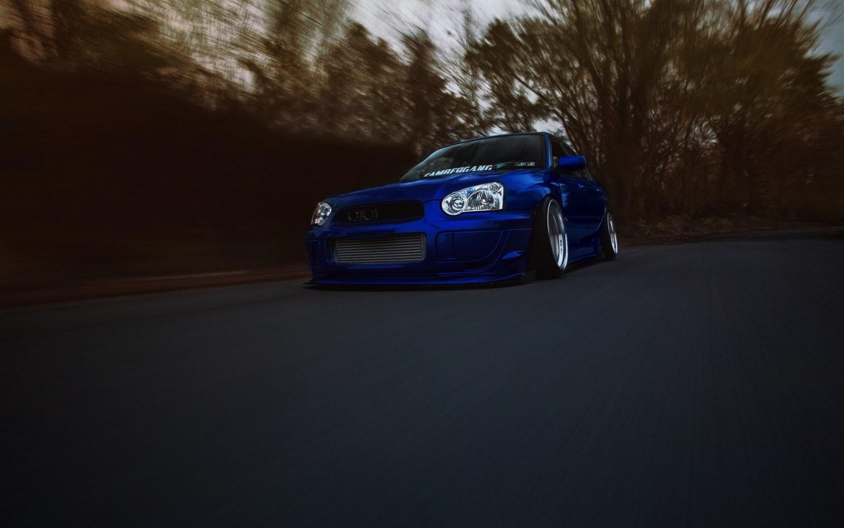 Subaru Impreza WRX STI Blue Car Road Speed