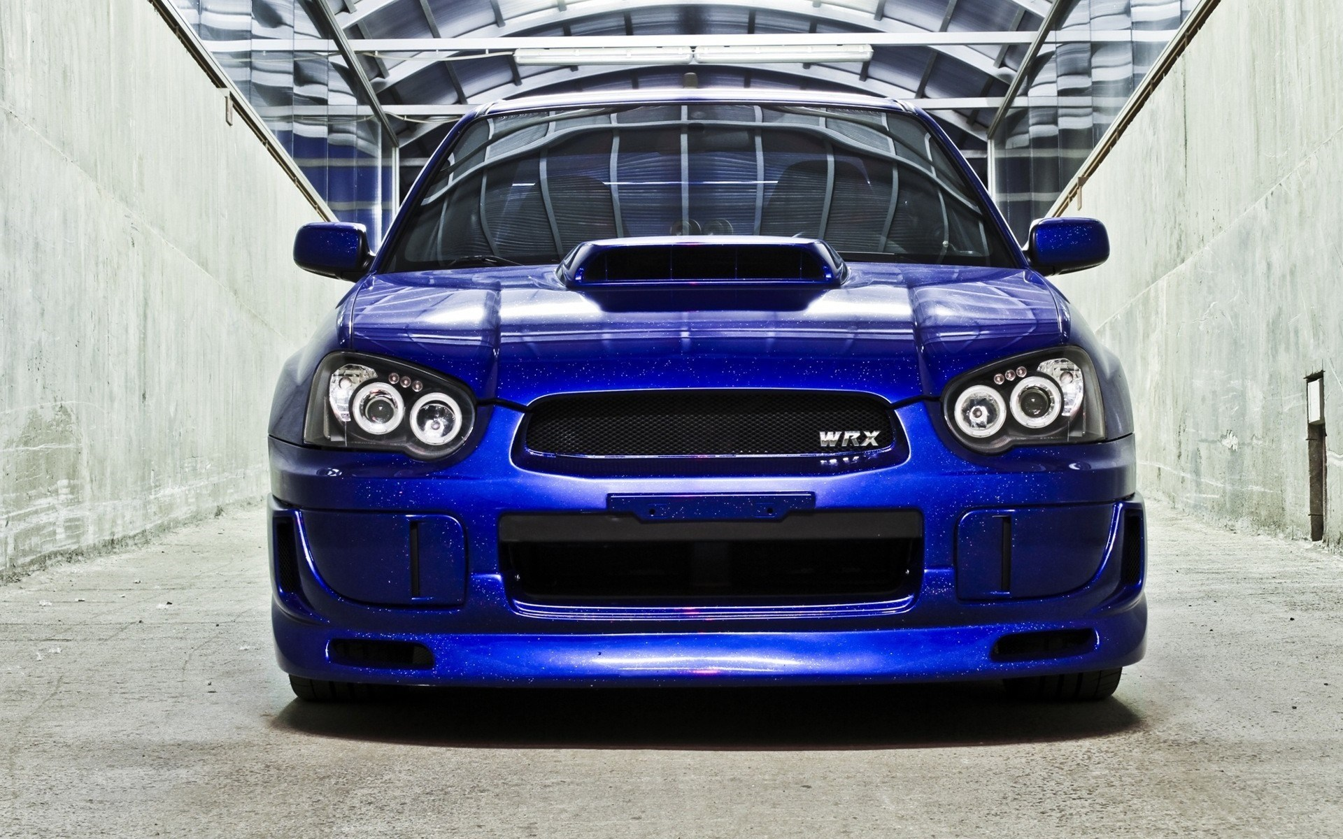 Subaru Impreza WRX STI Blue Front Car