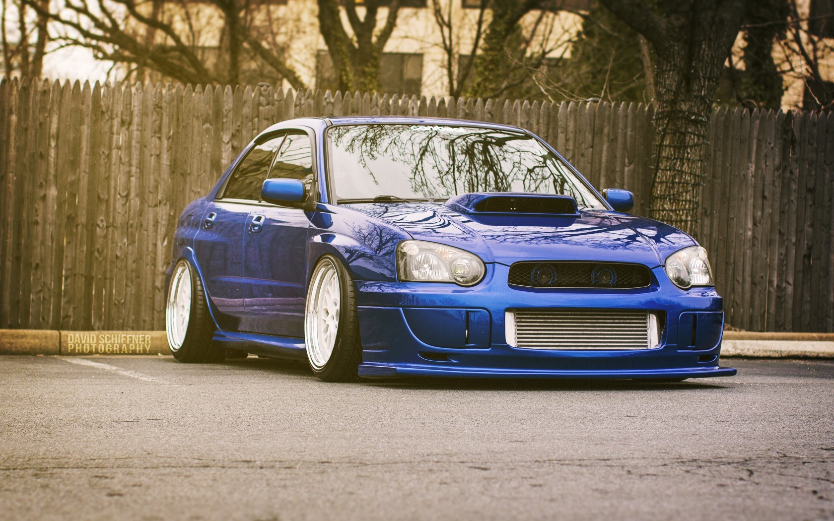 Subaru Impreza WRX STI Blue Rear Car