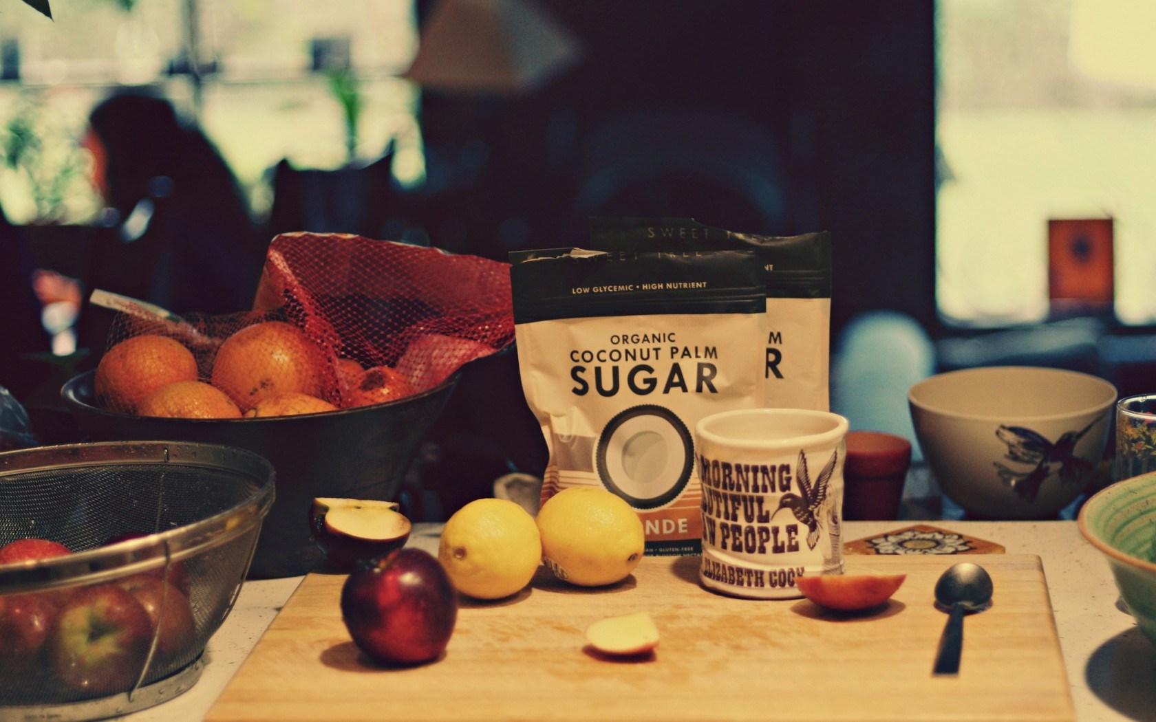 Sugar Lemons Board Mug Cup Spoon Oranges Apples Food