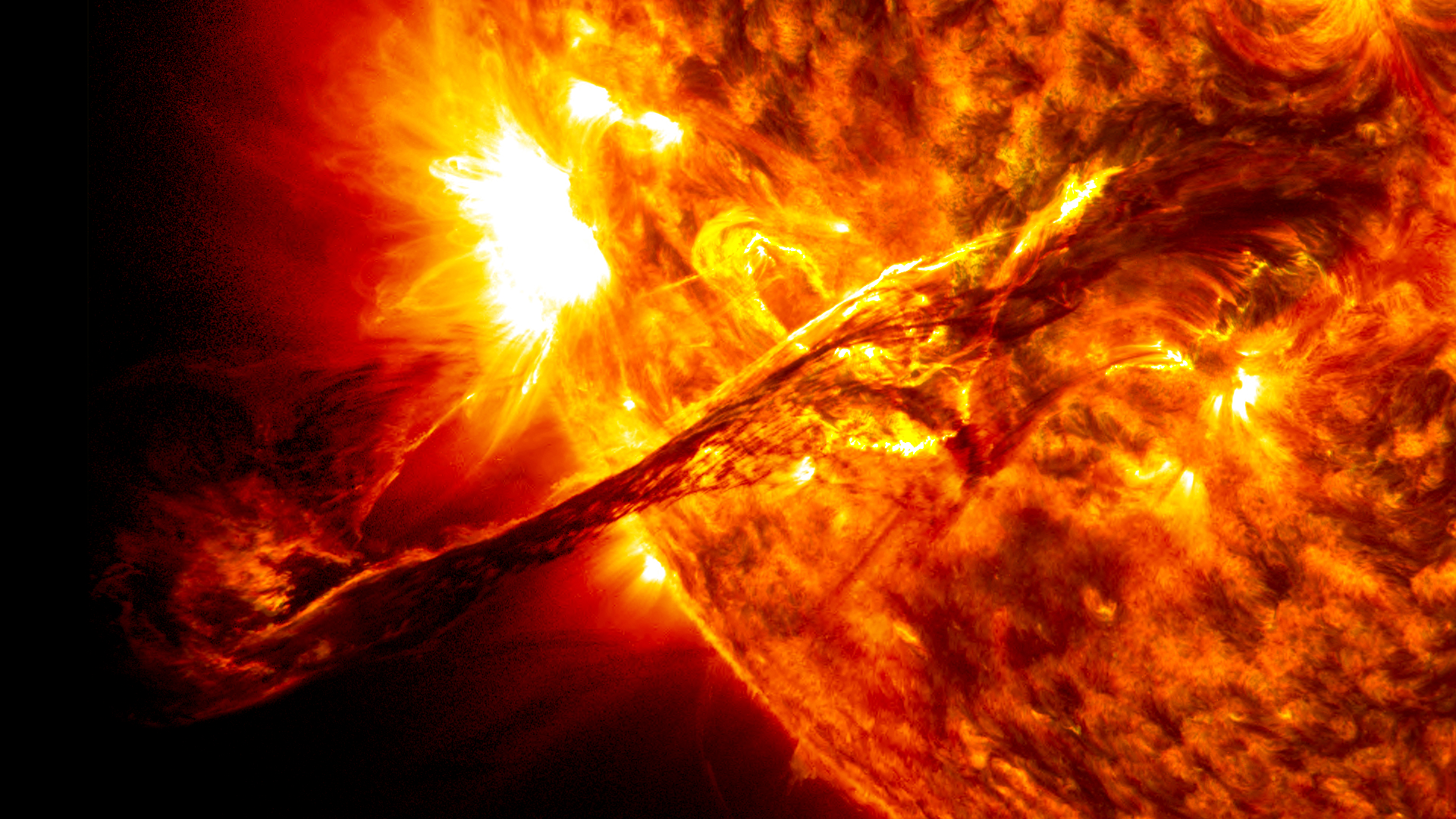A solar prominence erupts in August 2012, as captured by SDO