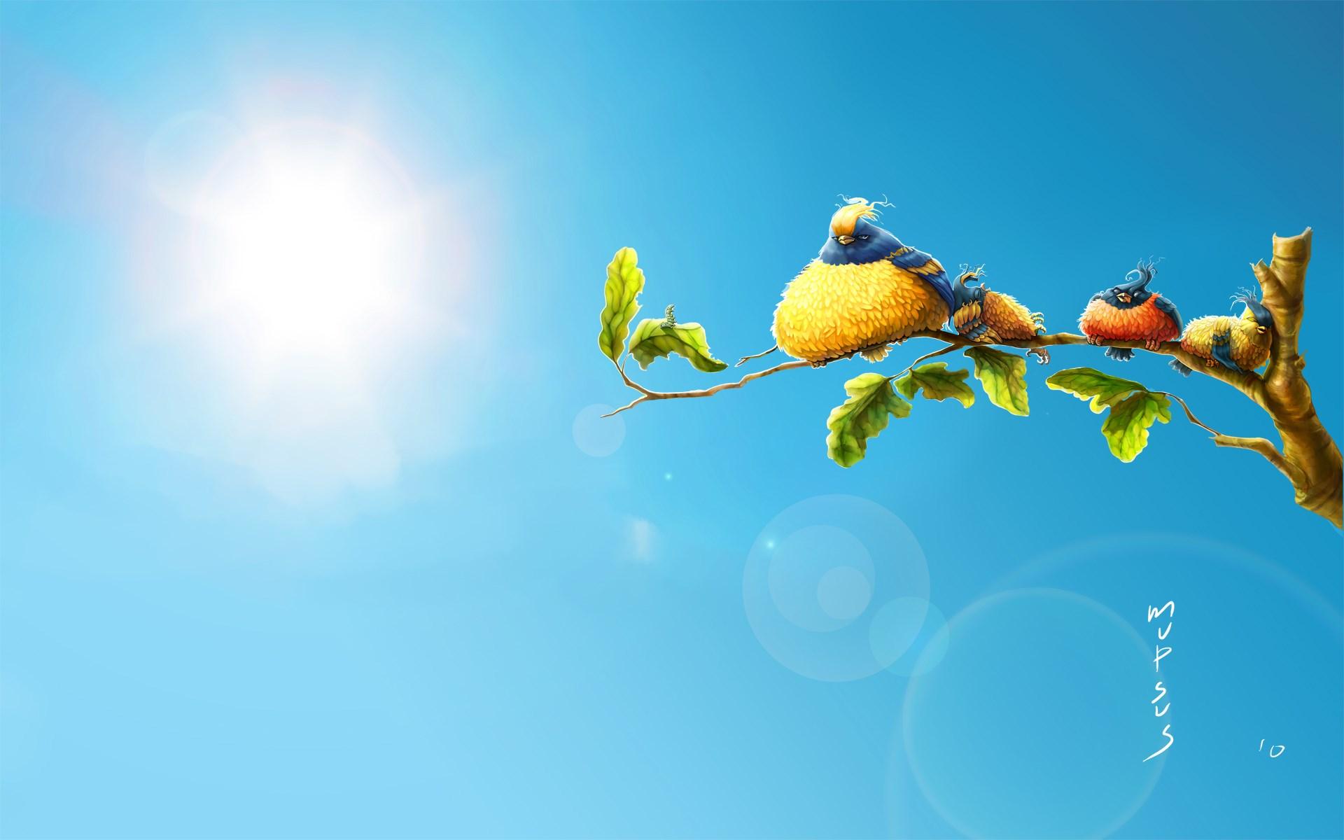 Sun Birds Art Cartoon