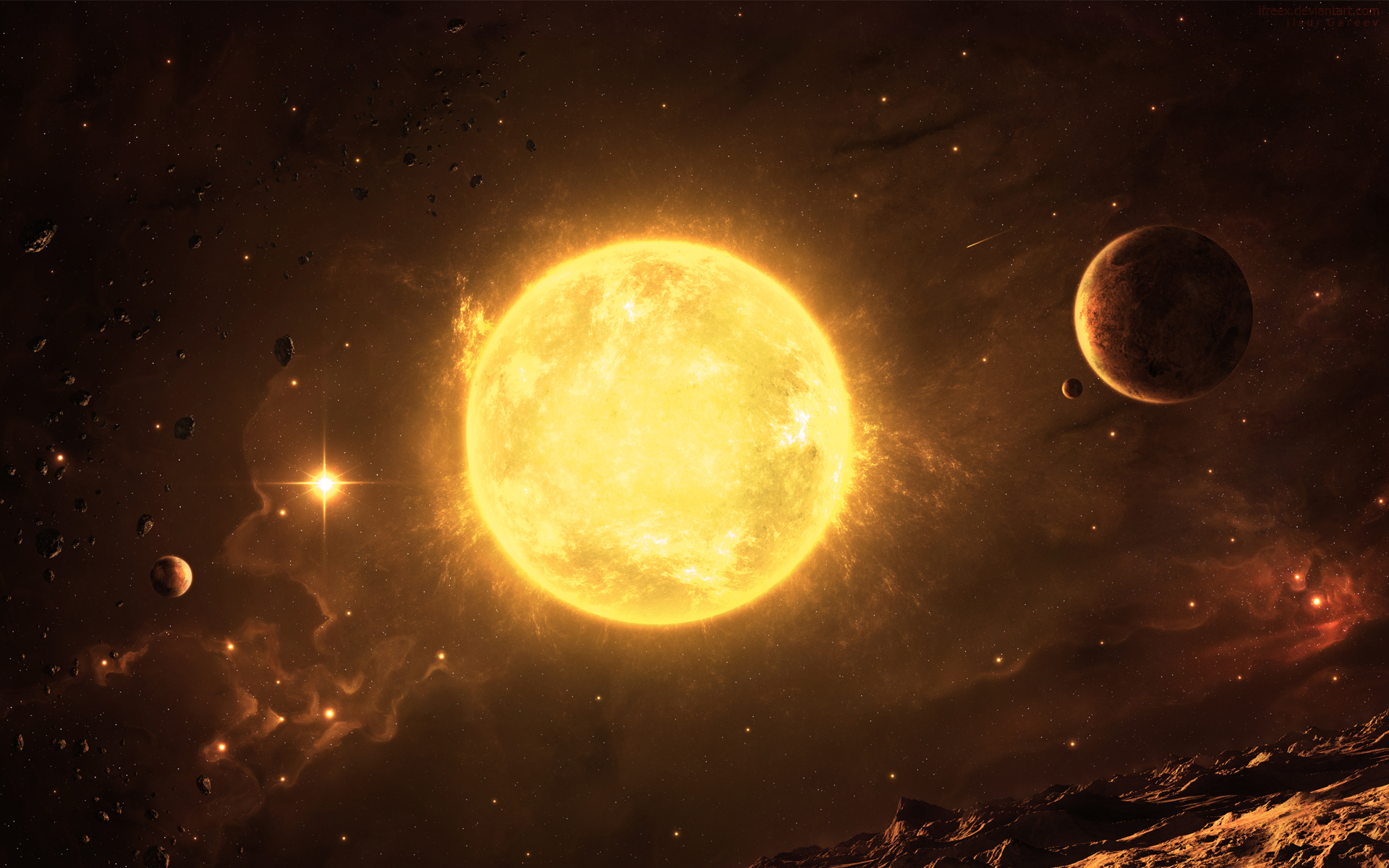 Sun Space Wallpaper