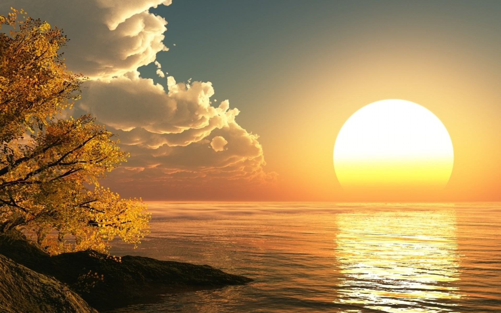 Sun Rising Wallpaper 3D Landscape