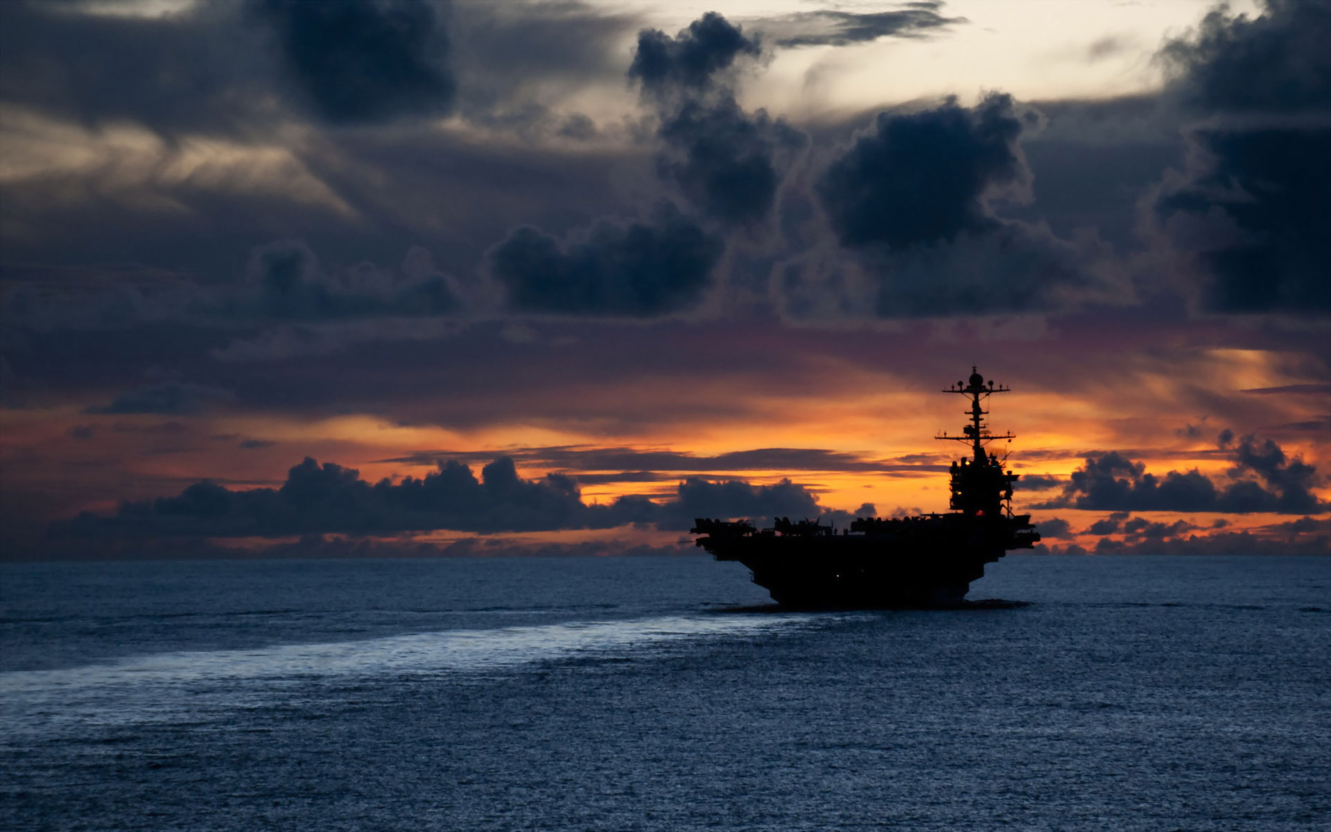 Sunset aircraft carrier