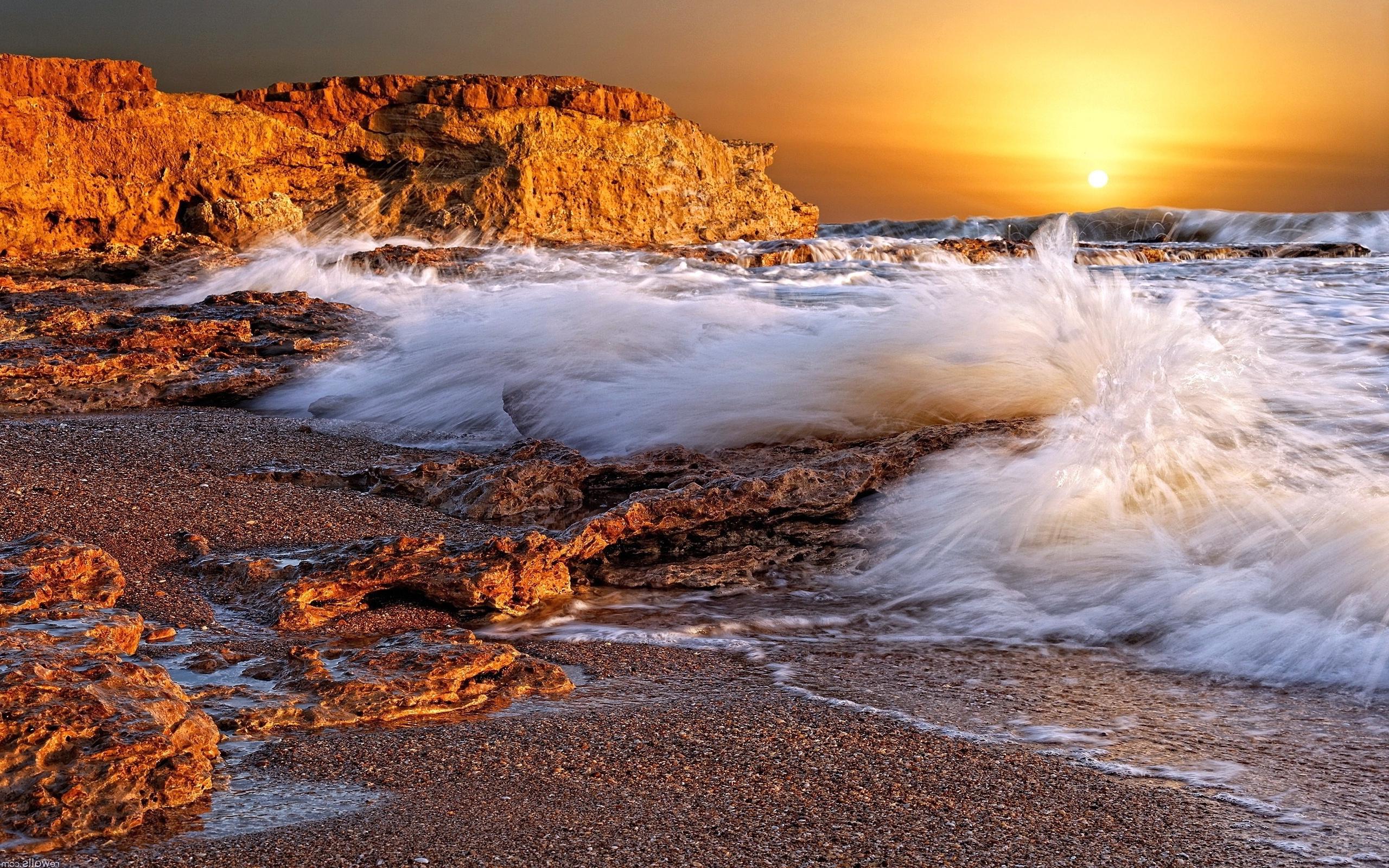 Sunset beach ocean waves