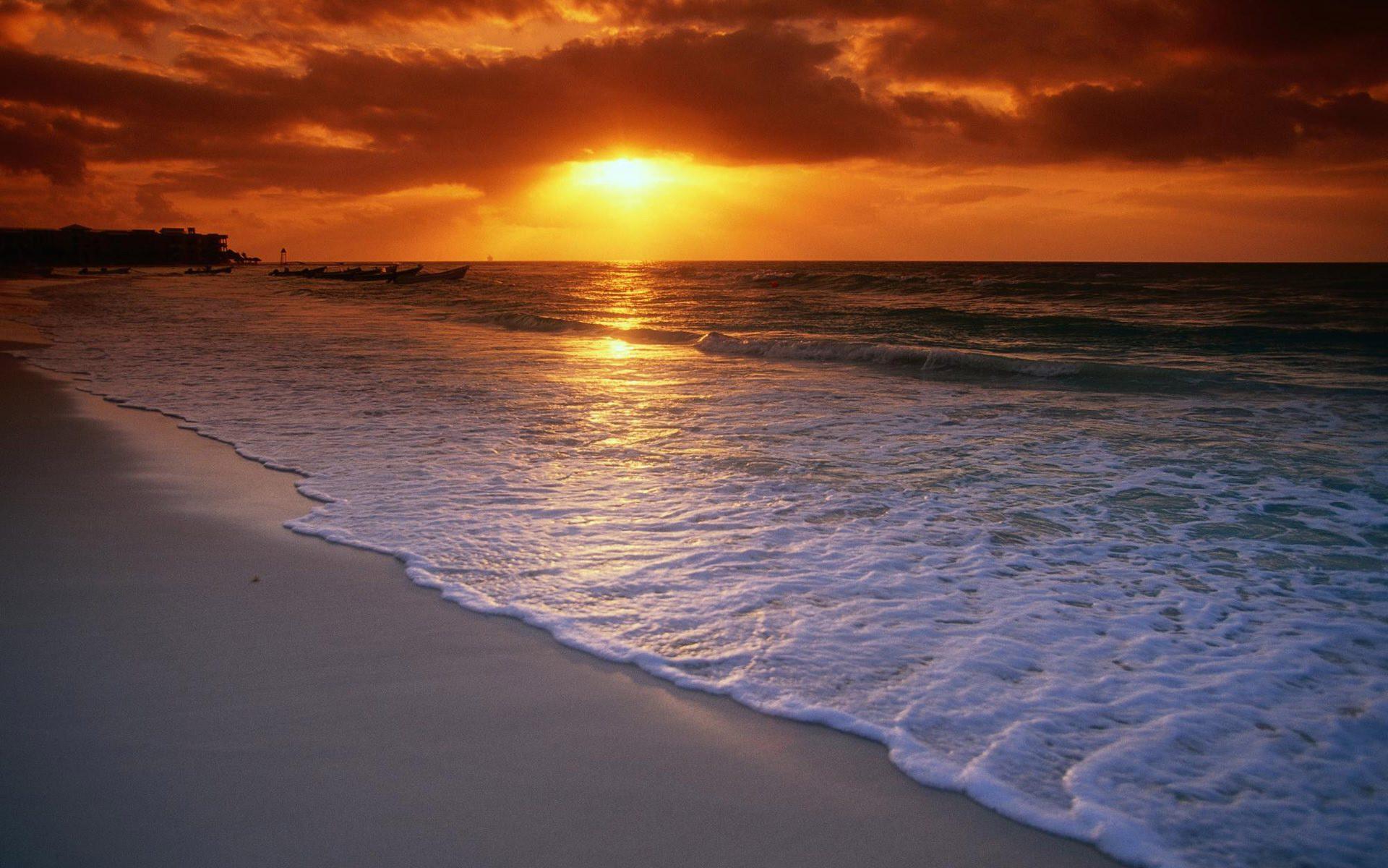 Sunset beach scenery