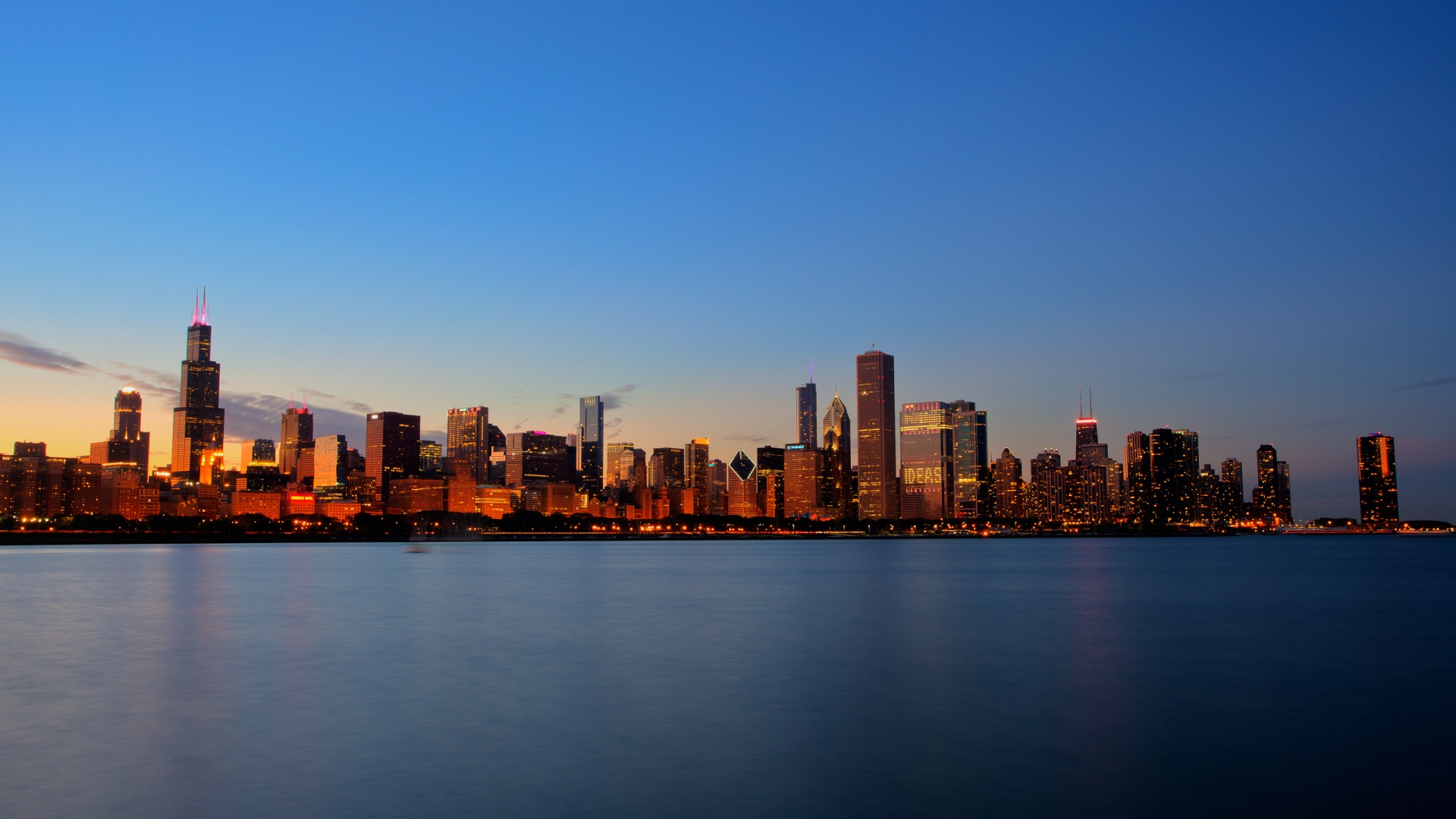 Sunset On A Chicago Skyline HD wallpapers