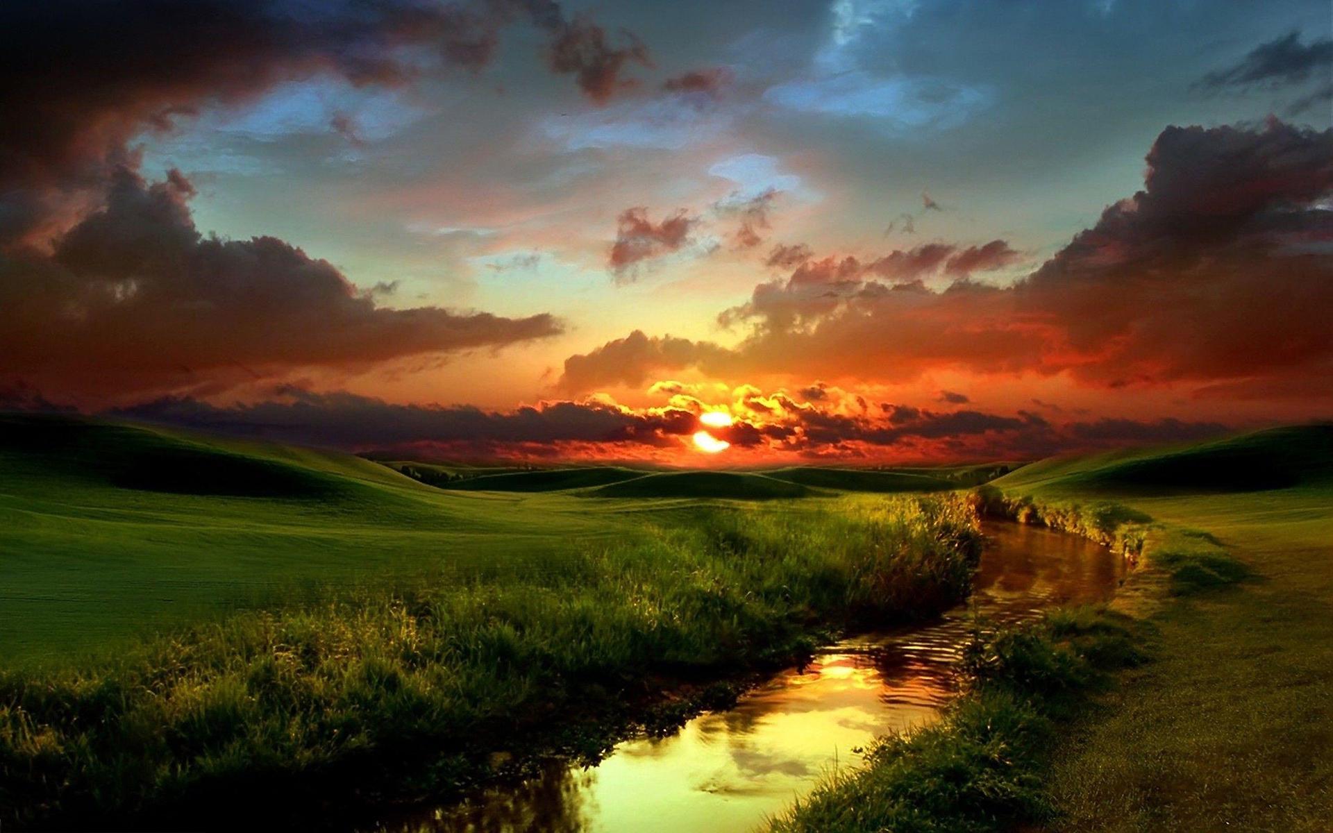 Sunset creek scenery