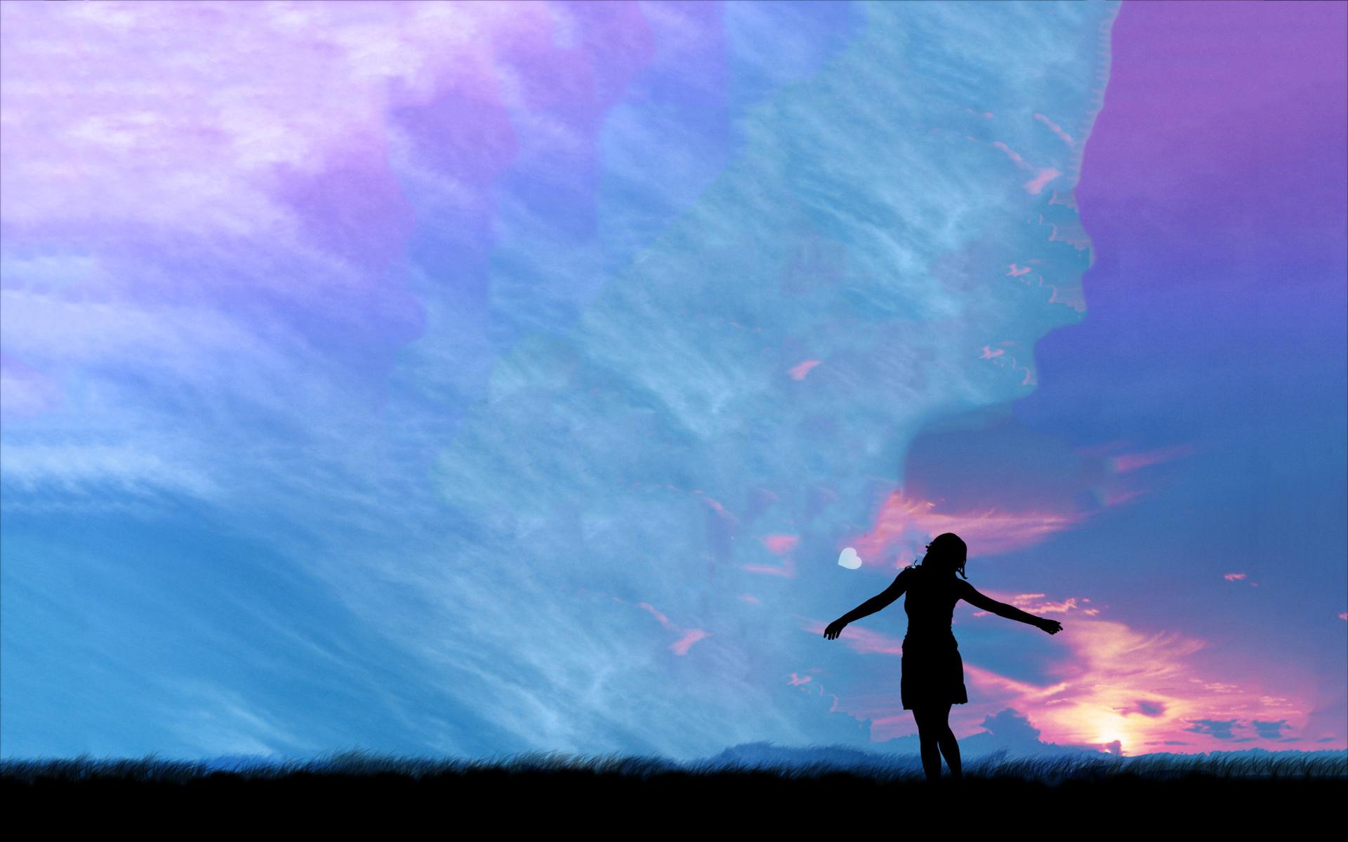 Sunset girl artwork