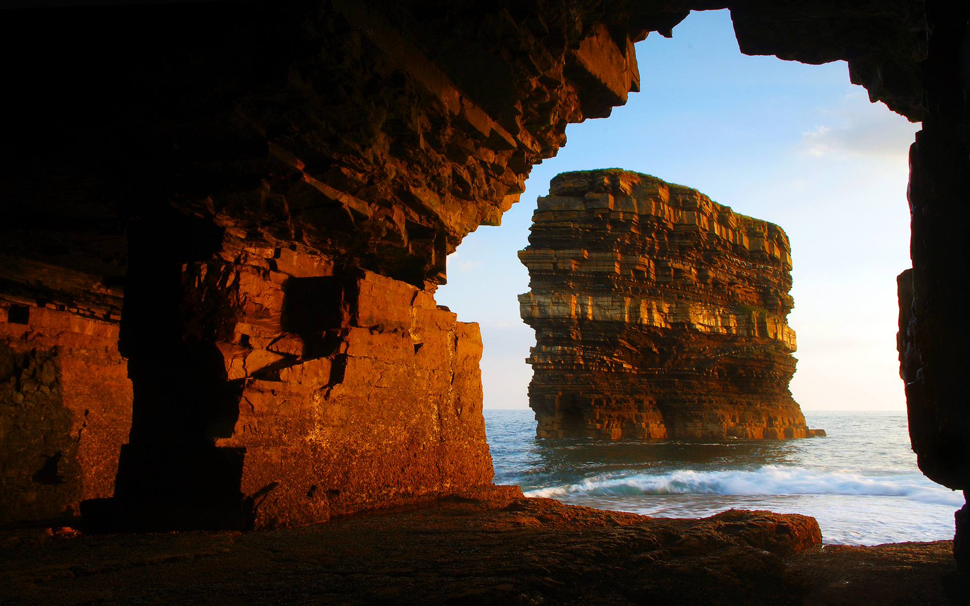 Sunset shore cave