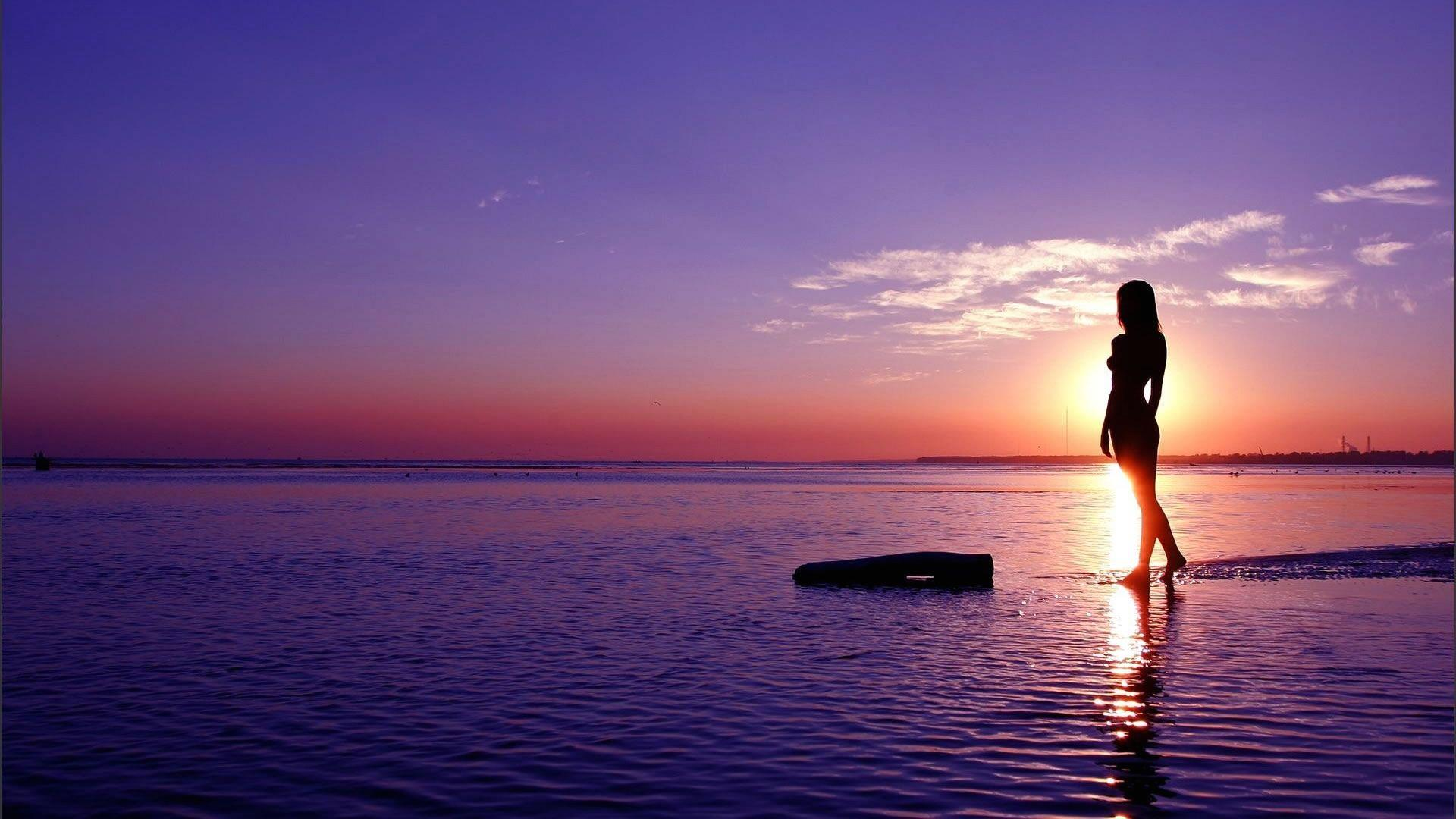 beach sunset silhouette woman wallpaper Wallpaper