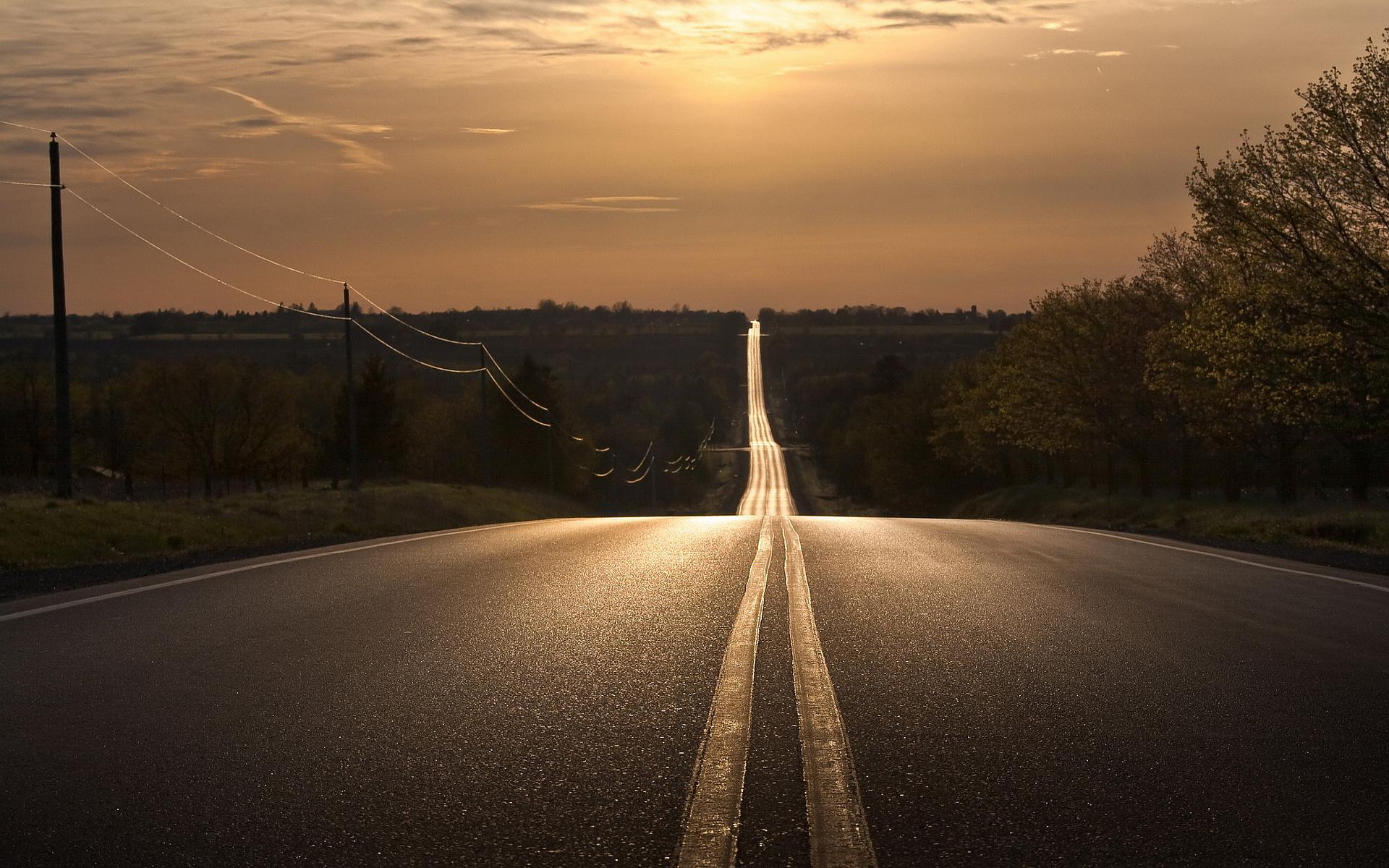 Sunset straight road