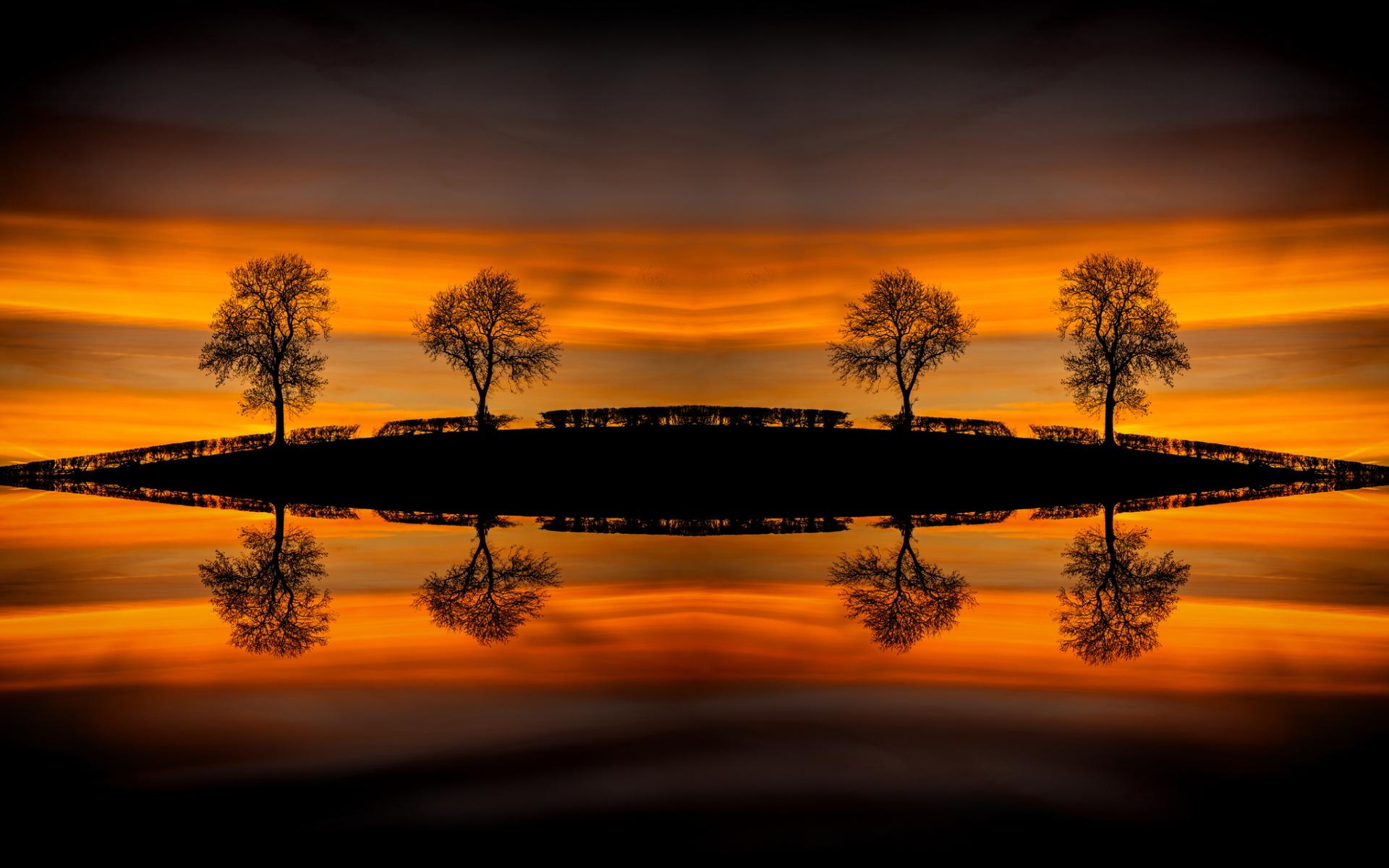 Sunset water mirrors