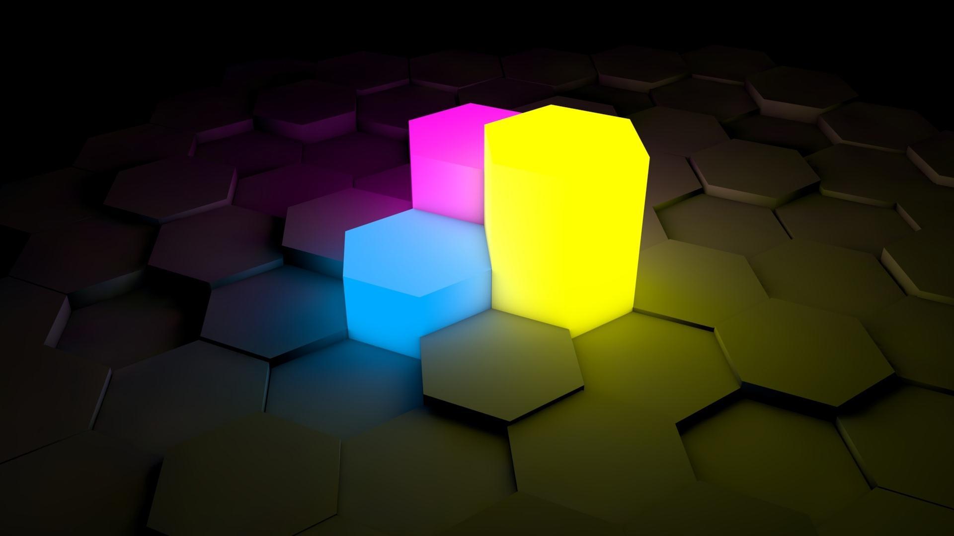 Figurines Lights On Neon Surface Wallpaper