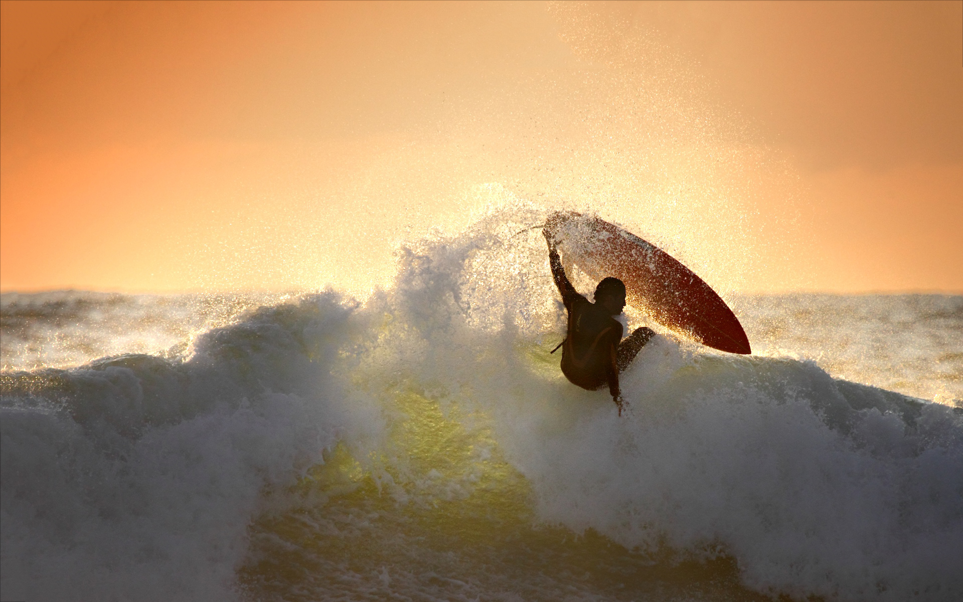 Surfing waves in sunset