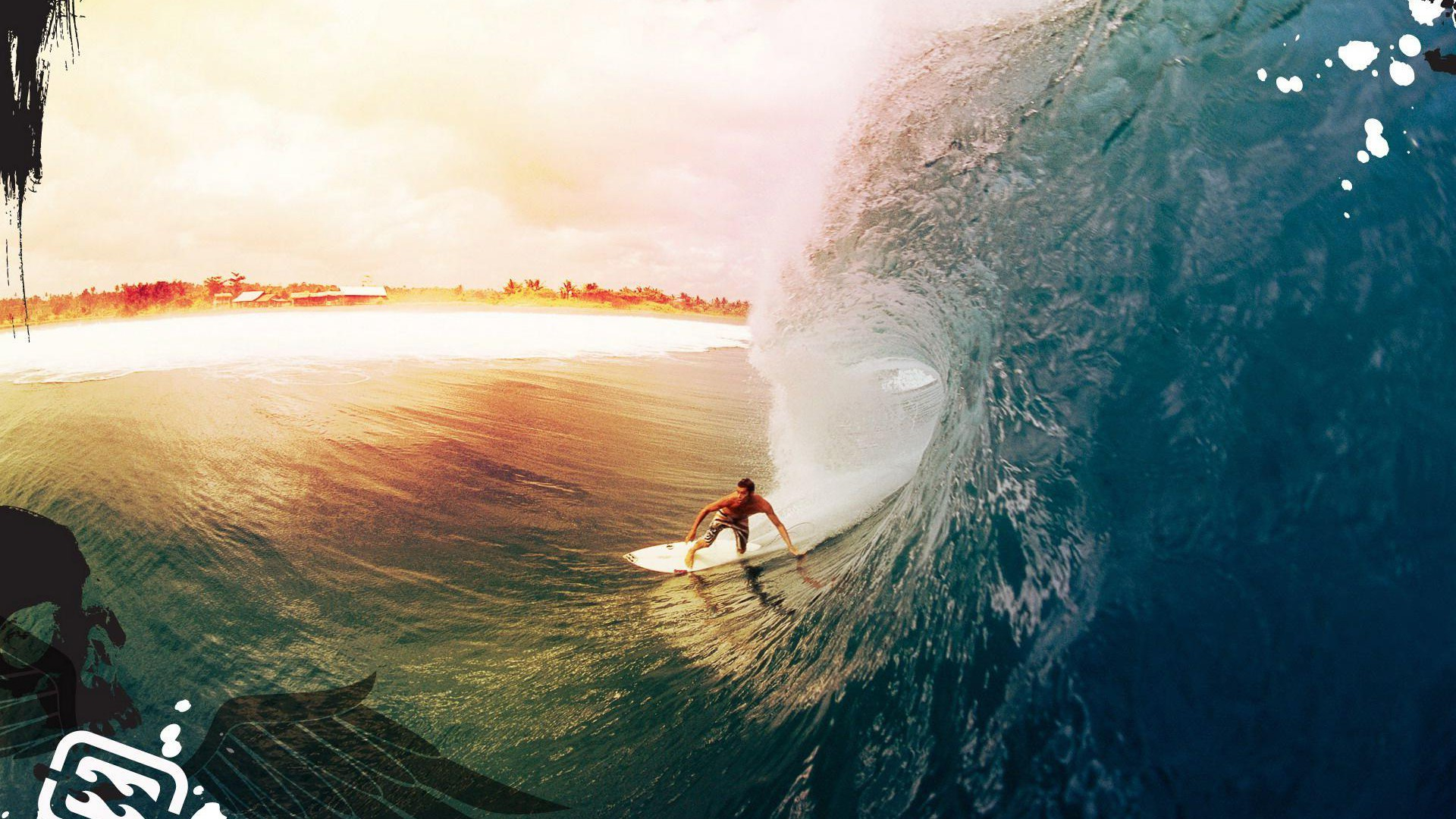 Other Resolution: Stunning Wave Surfing Wallpaper