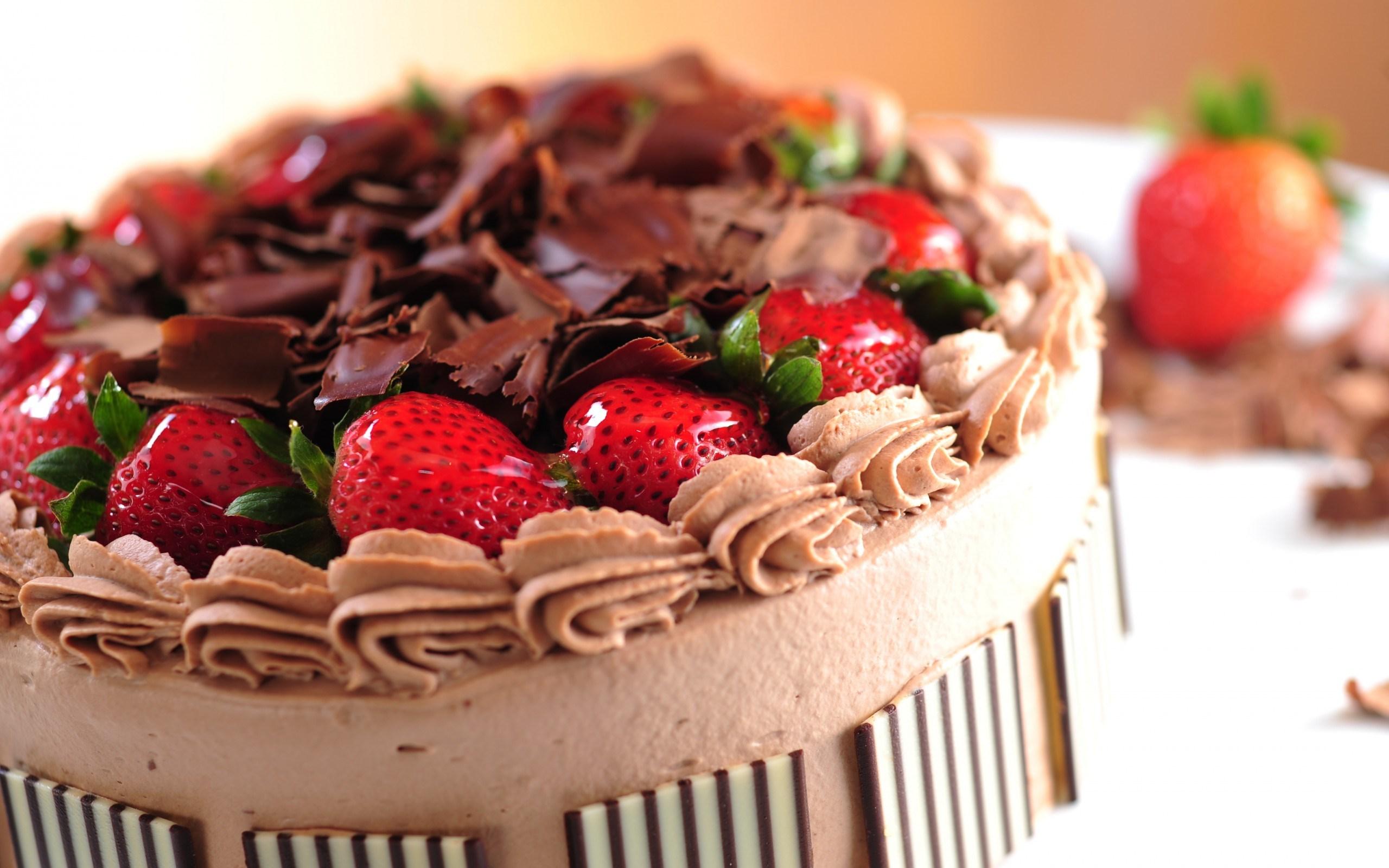 Sweet Dessert Cake Strawberries Berries Food