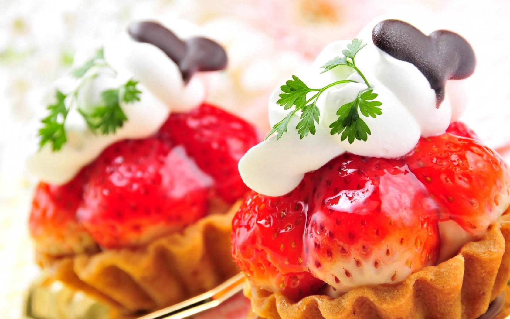 Sweets Cakes Cream Berries Strawberries