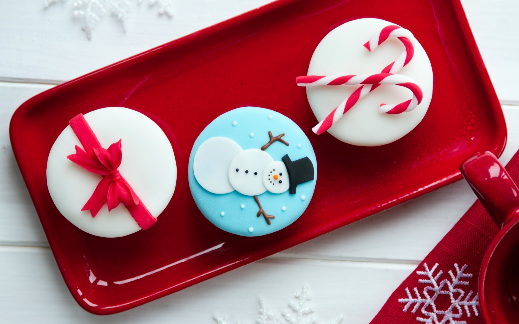 Sweets Cakes Cream Christmas Food Cup Red Holiday New Year
