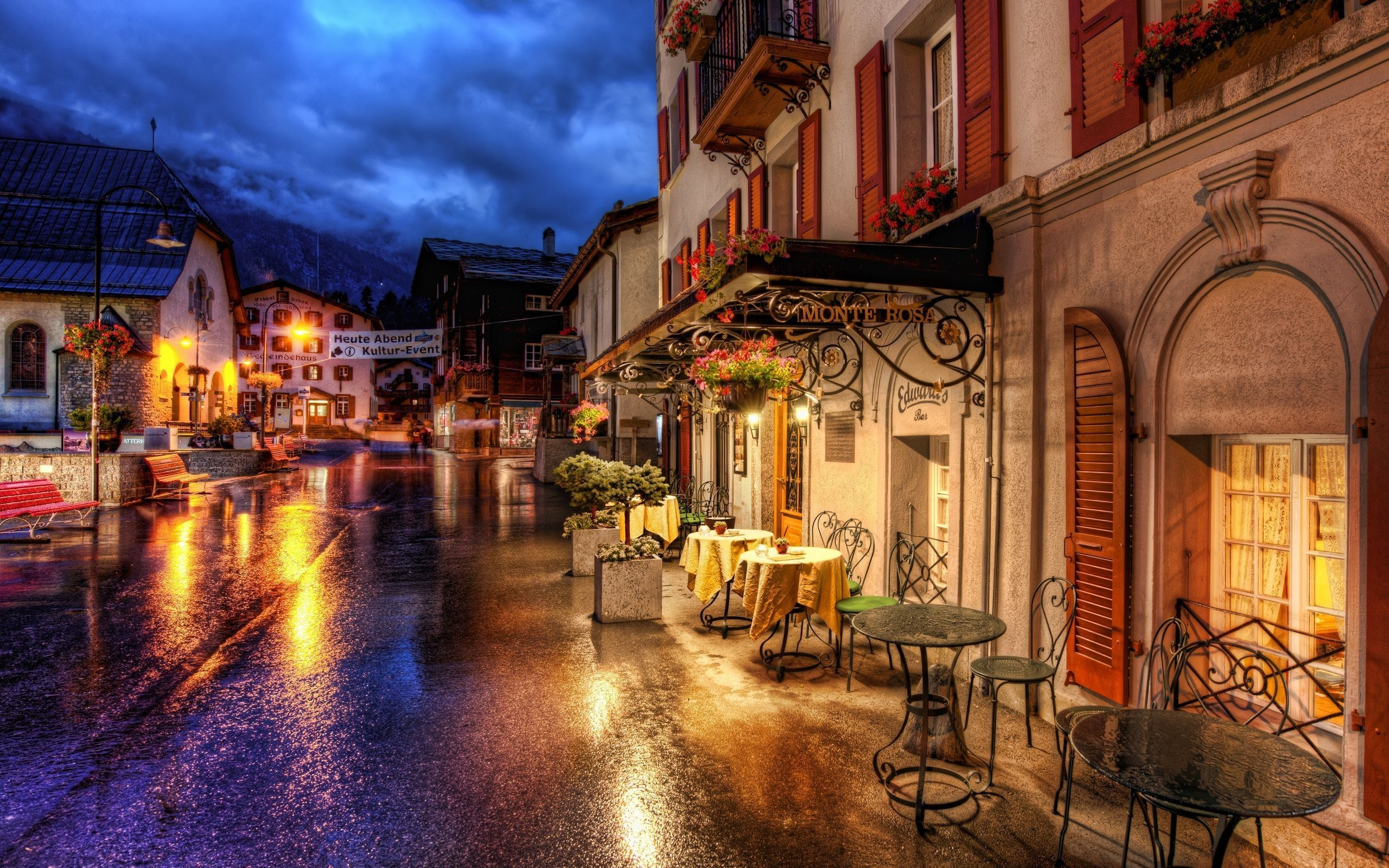 Zermatt Switzerland Cafe Tables Street Old Town HD Wallpaper