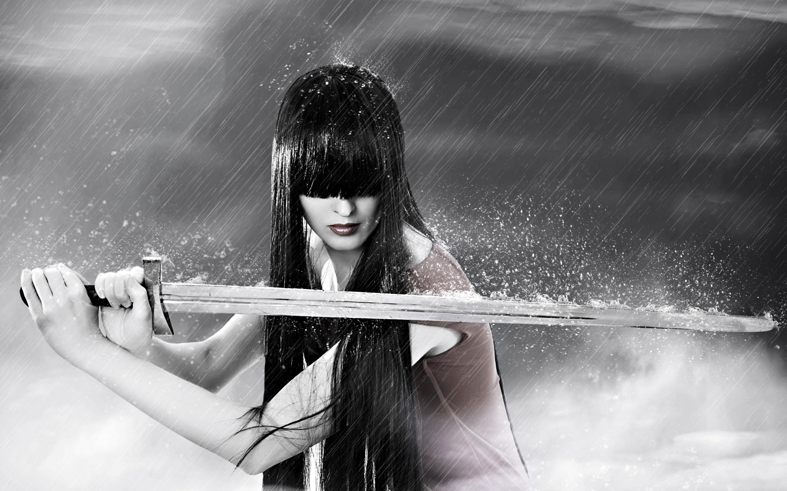 Sword warrior girl in rain