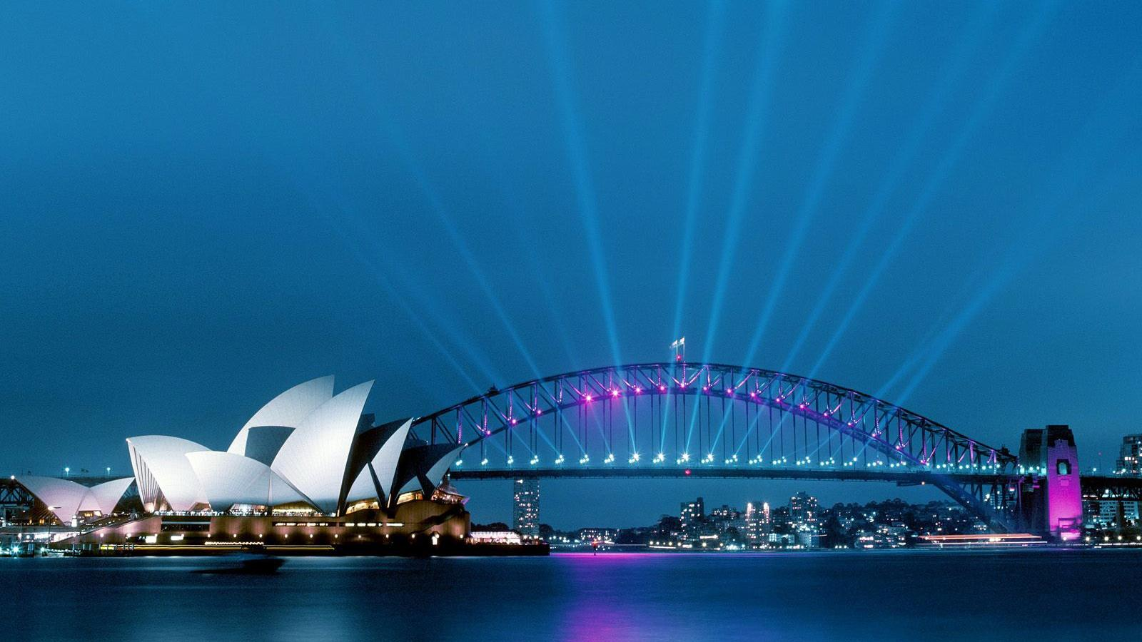 The Sydney Harbour bridge was lit up with LED lights for its yearly Vivid Sydney Festival