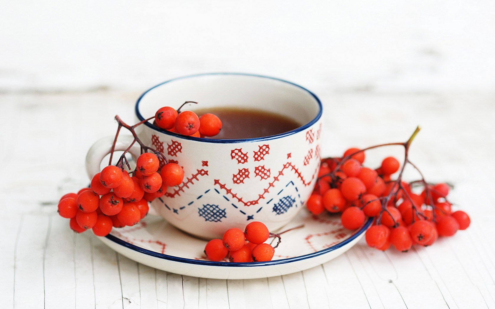 Tea Cup Rowan Berries Autumn