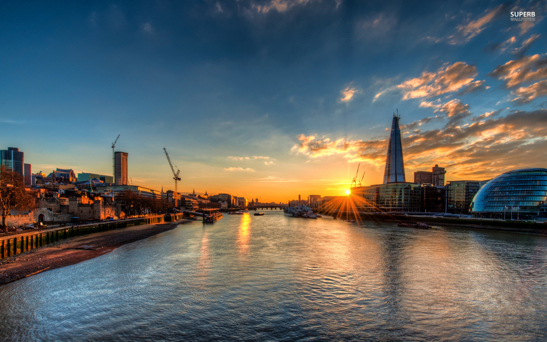 Sunset over the river Thames wallpaper 1920x1200