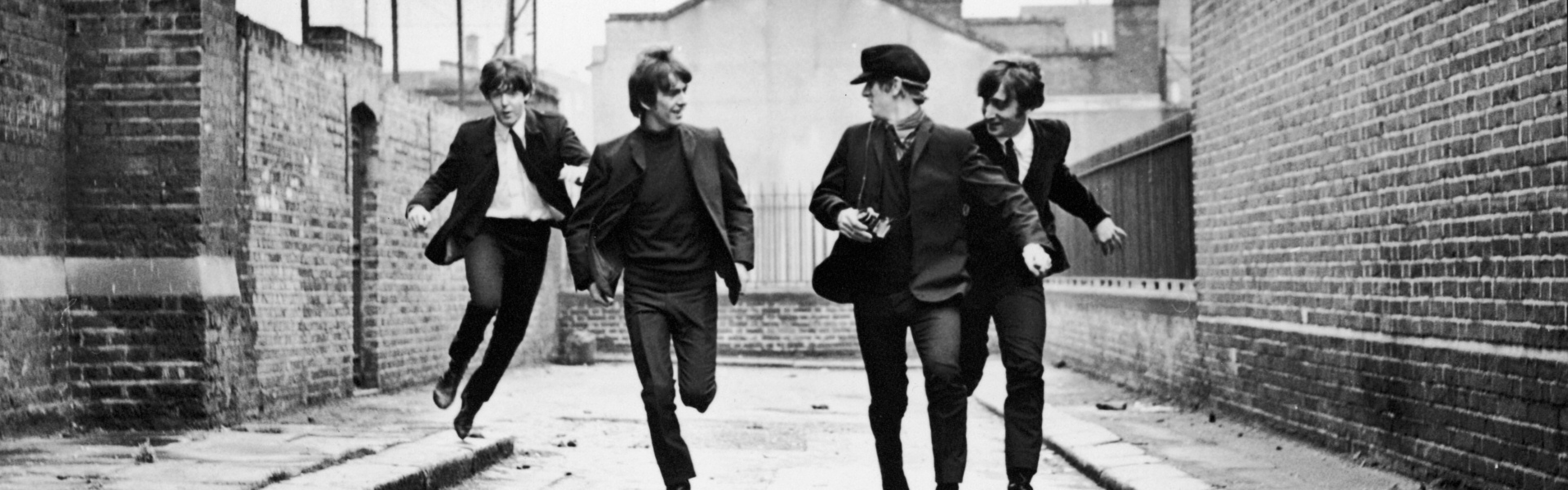Preview wallpaper the beatles, band, members, run, road 3840x1200