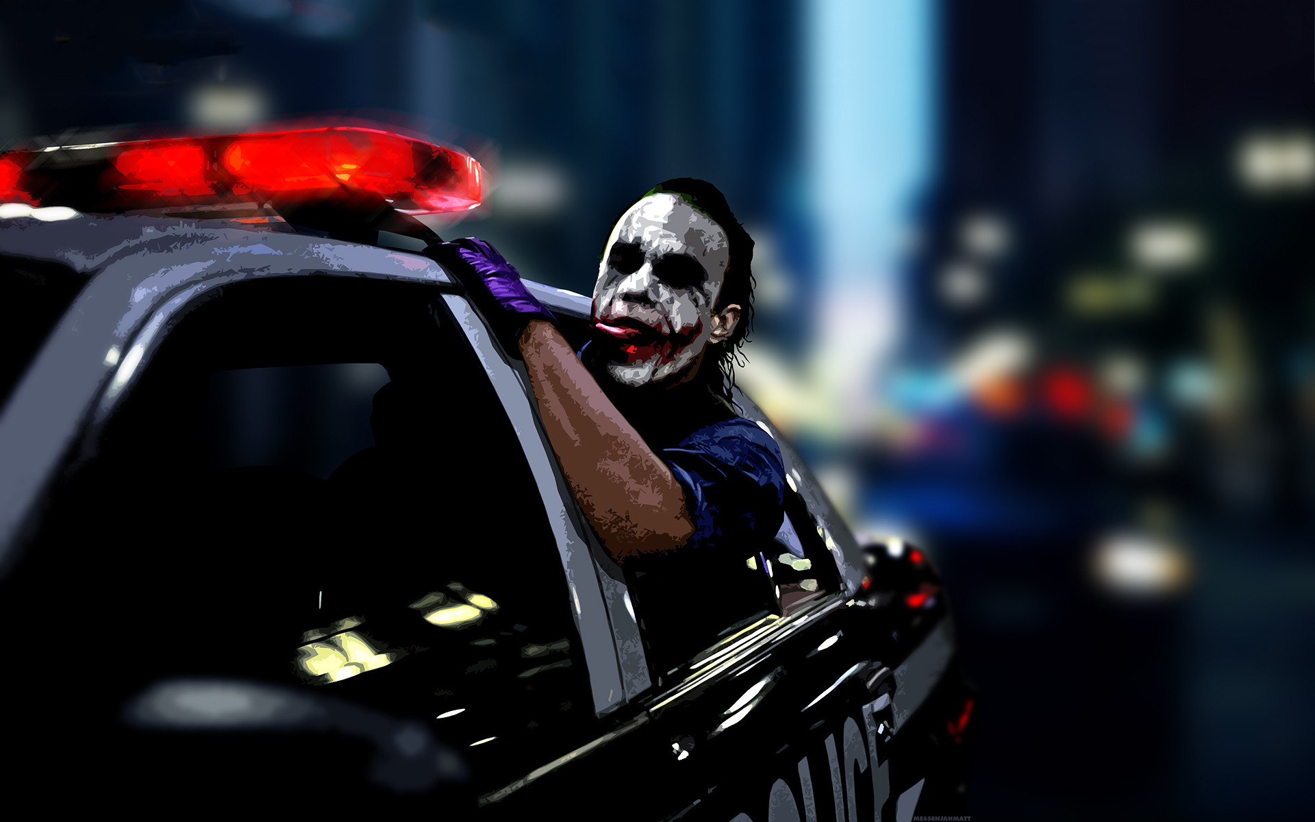 The joker police car